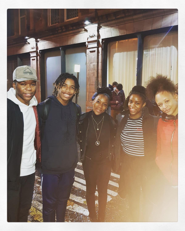 With cast members Mitchell Zhangazha (Stevie Wonder) and Natalie Kassanga (Diana Ross)