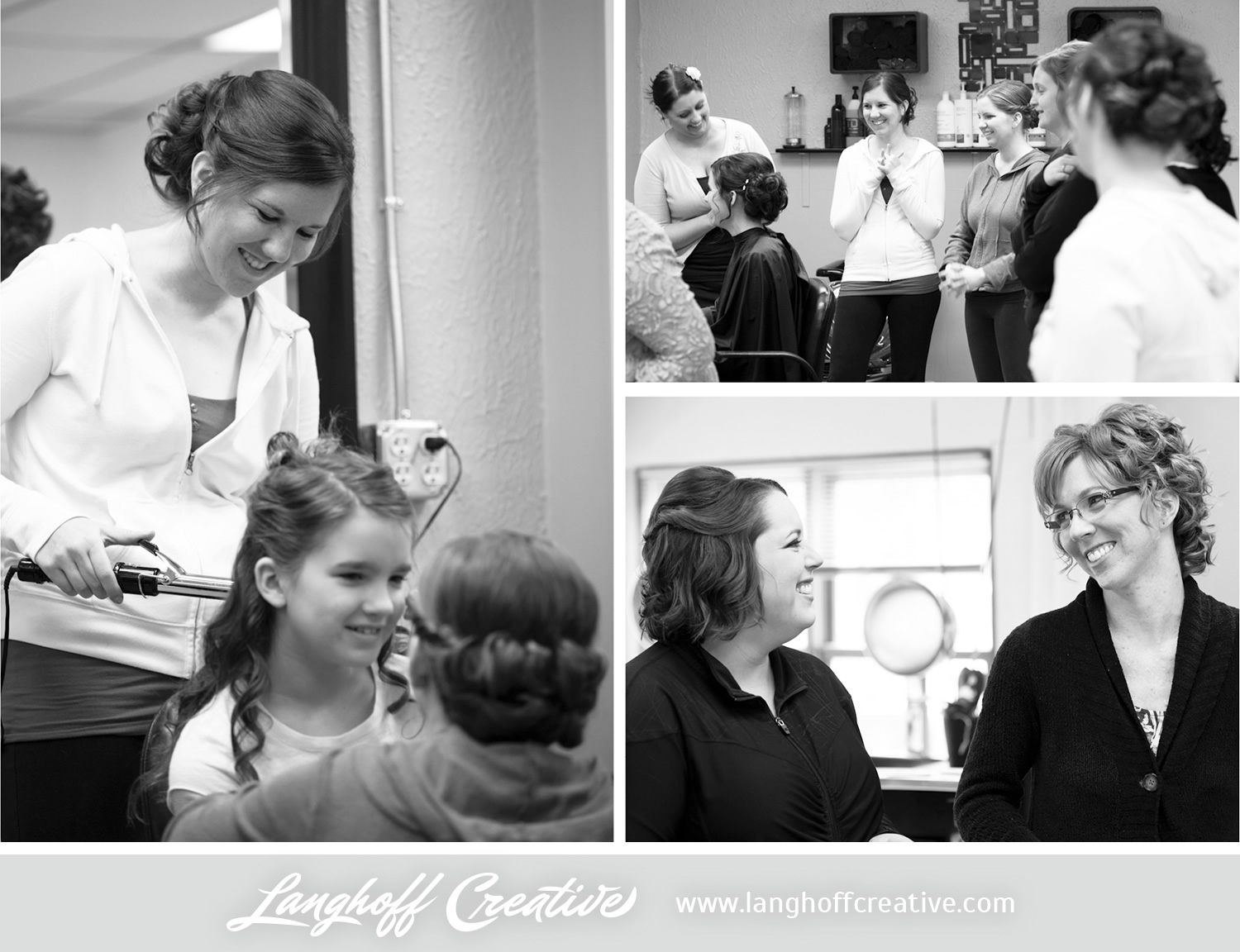 So many smiles in the salon! Julie's sisters and friends had fun together as they got ready for the wedding. Excitement & anticipation were certainly in the air!