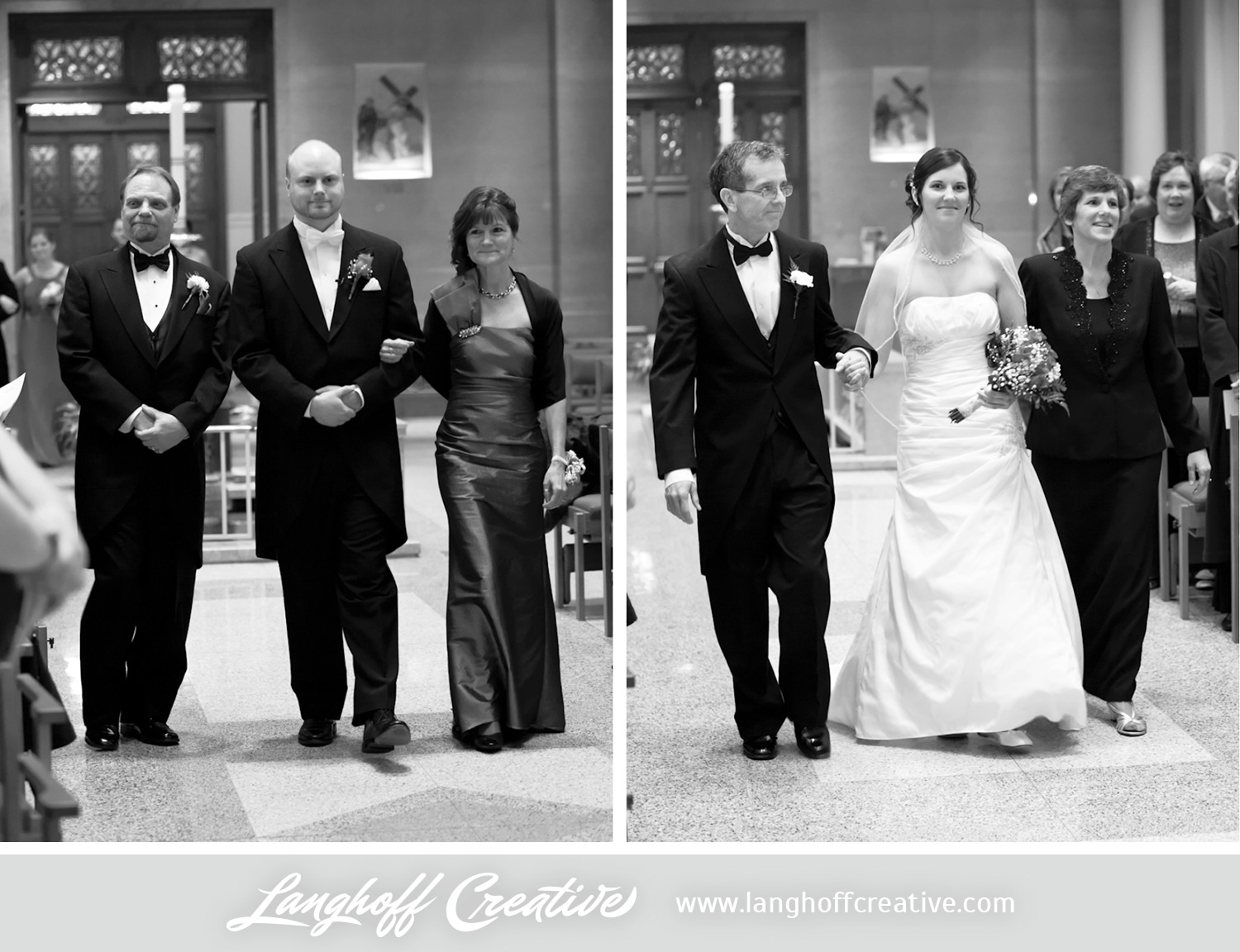 Eric and Julie were each escorted down the aisle by both of their parents. So special!