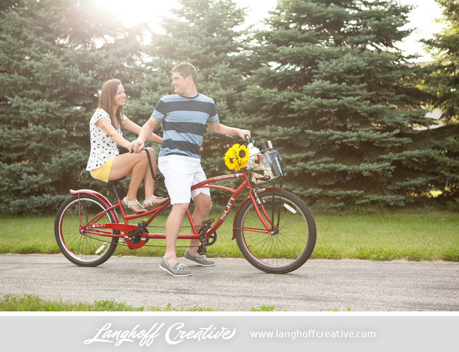 """Adam says that they enjoy lots of things together, namely running,going out to eat, having drinks, riding bikes and hanging out with family. Michelle added, """"We try to get together with them as much as possible. I feel so grateful and thankful that we both have wonderful, loving families that we enjoy spending time with."""""""