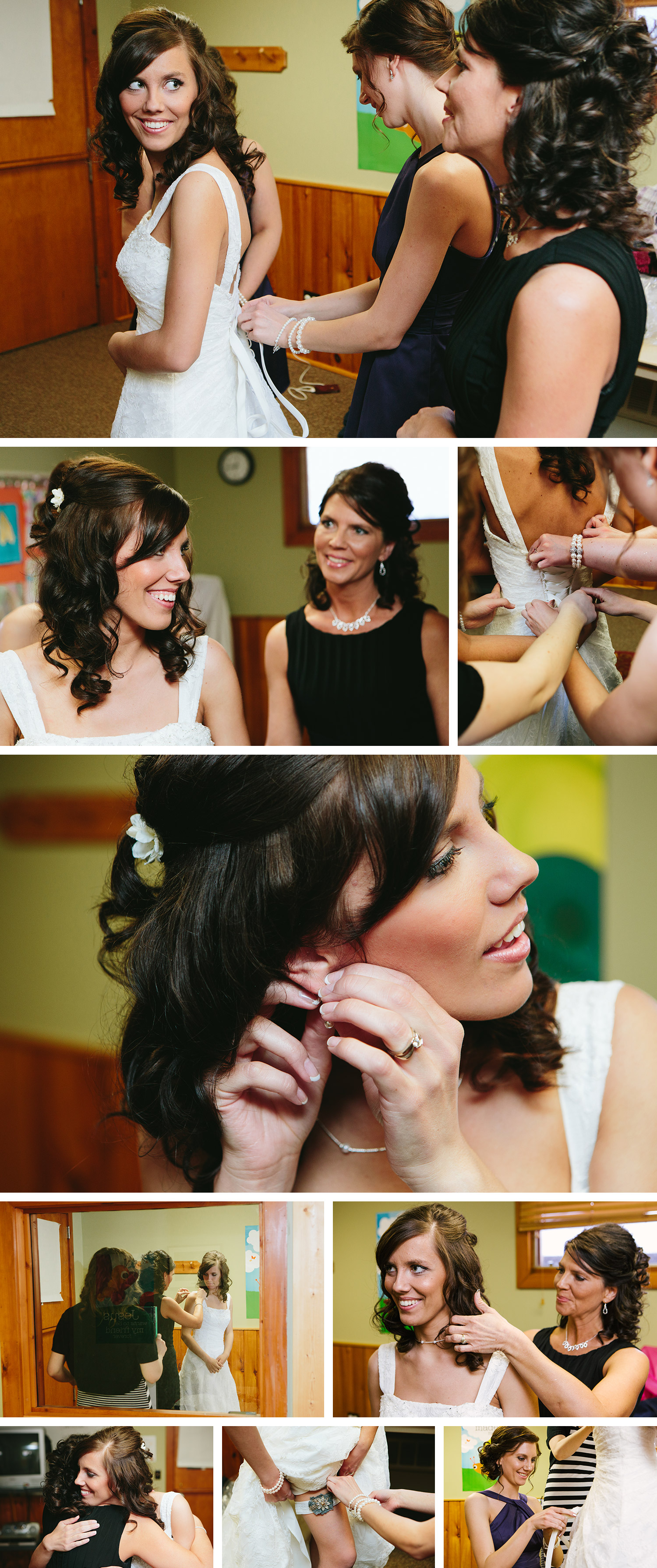 bride getting ready at the log church in crosslake, mn
