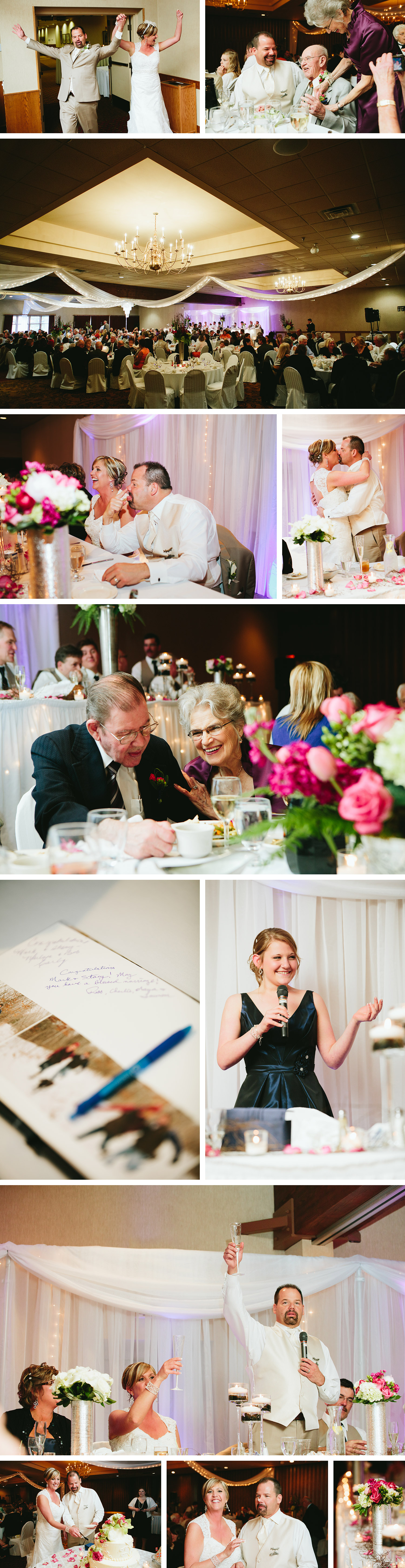 Breezy Point Resort wedding reception in the White Birch Room with decor by Celebrations Floral