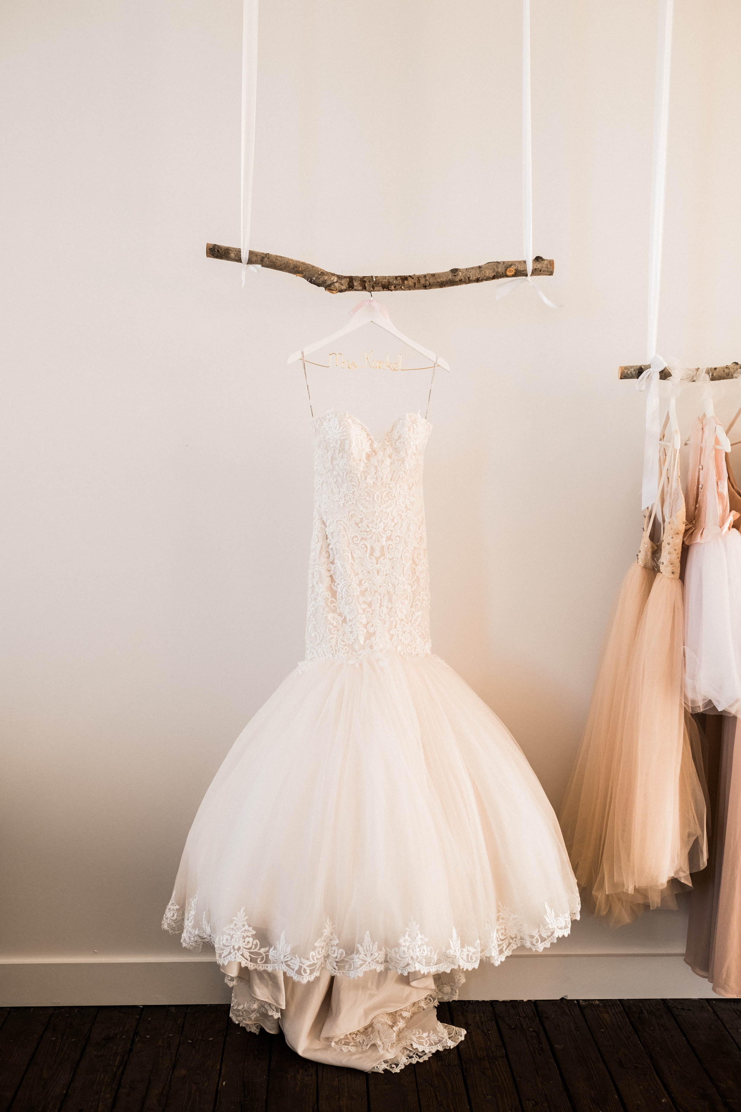 Wedding dress hanging in the bridal suite at the NP Space in Brainerd