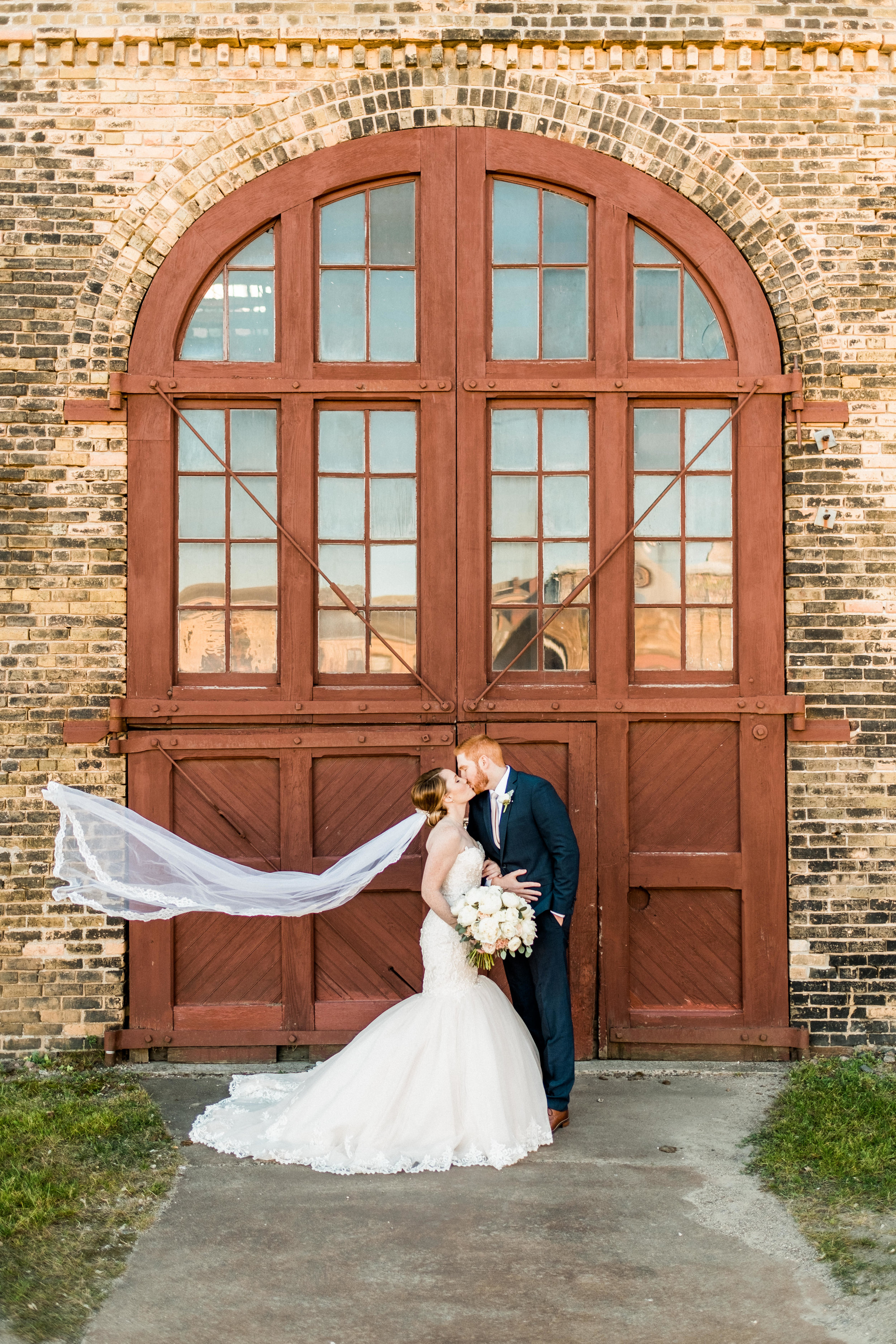 wedding image in front of the historic northern pacific center