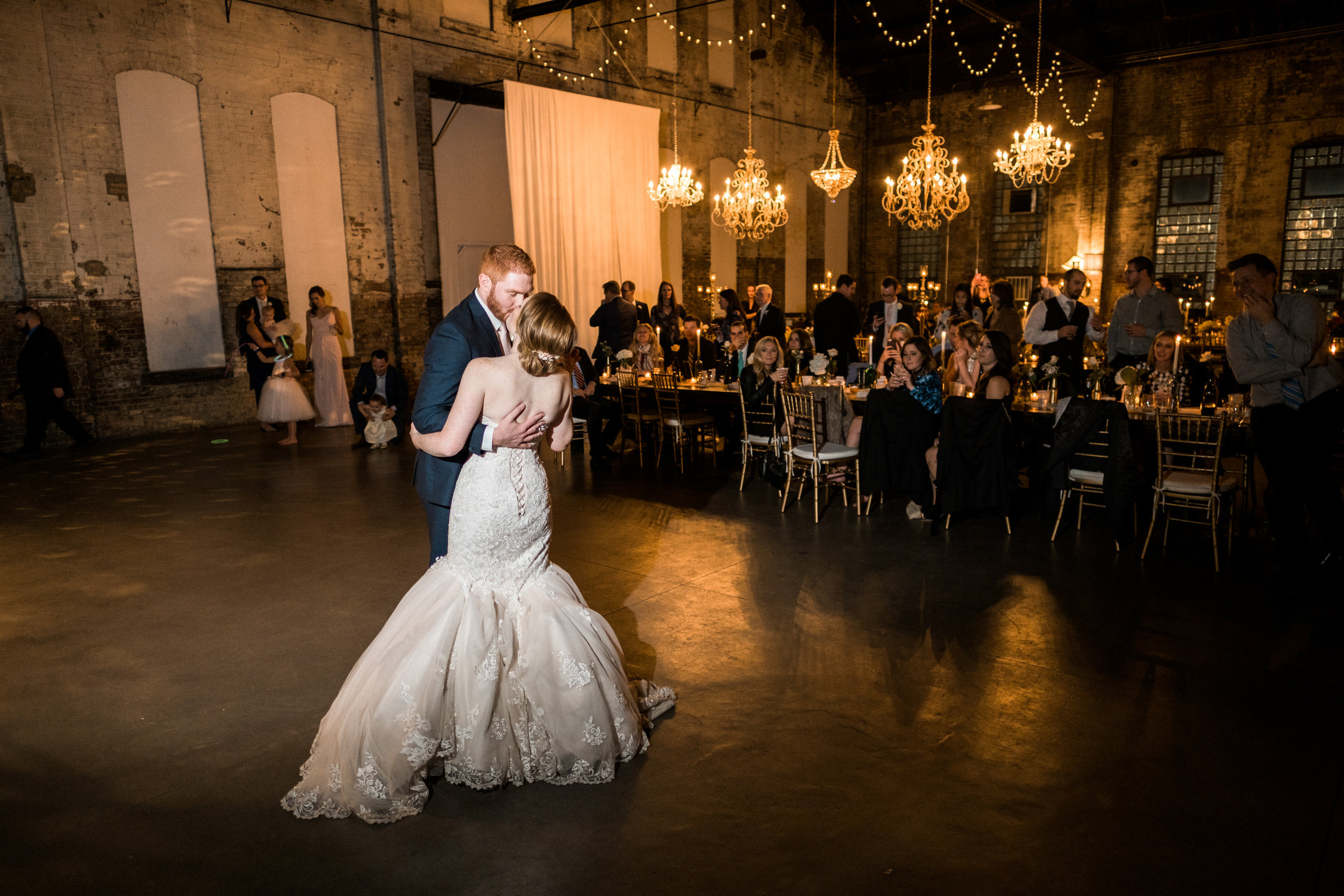 couple's first dance with the beauty of the np space in the background