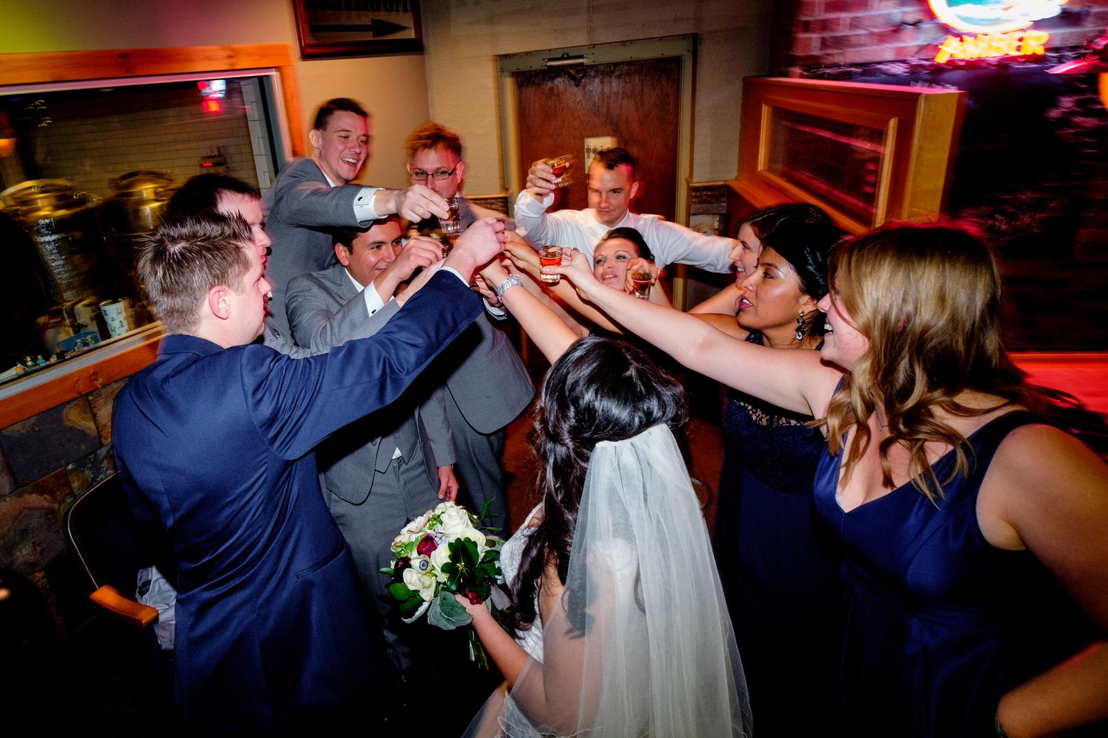 wedding party at gunflint tavern in grand marais