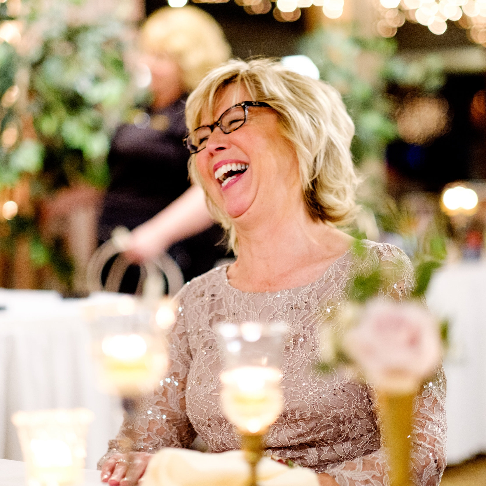 boho winter wedding reception at the cragun's resort dining hall