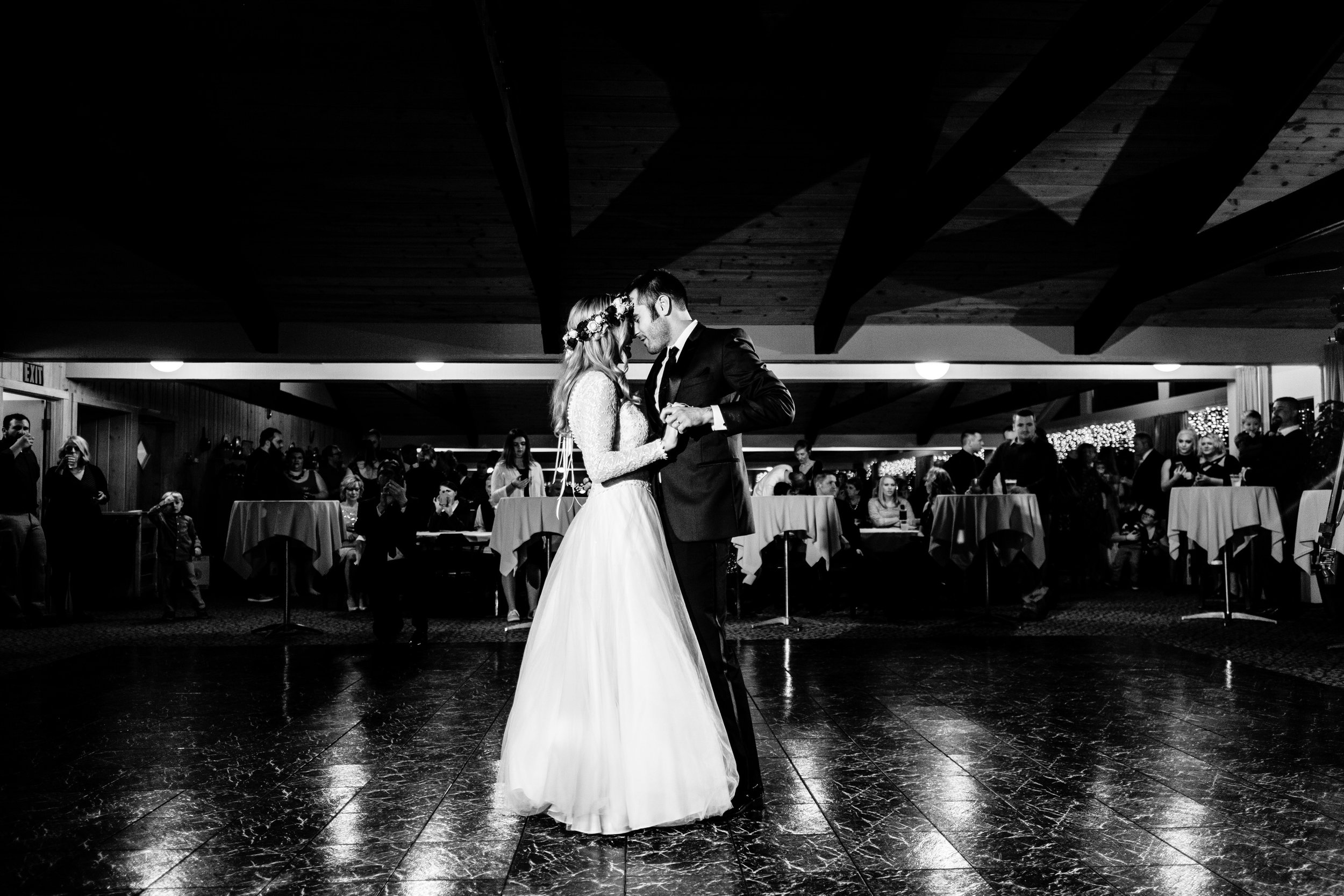 boho winyter wedding dance at cragun's resort