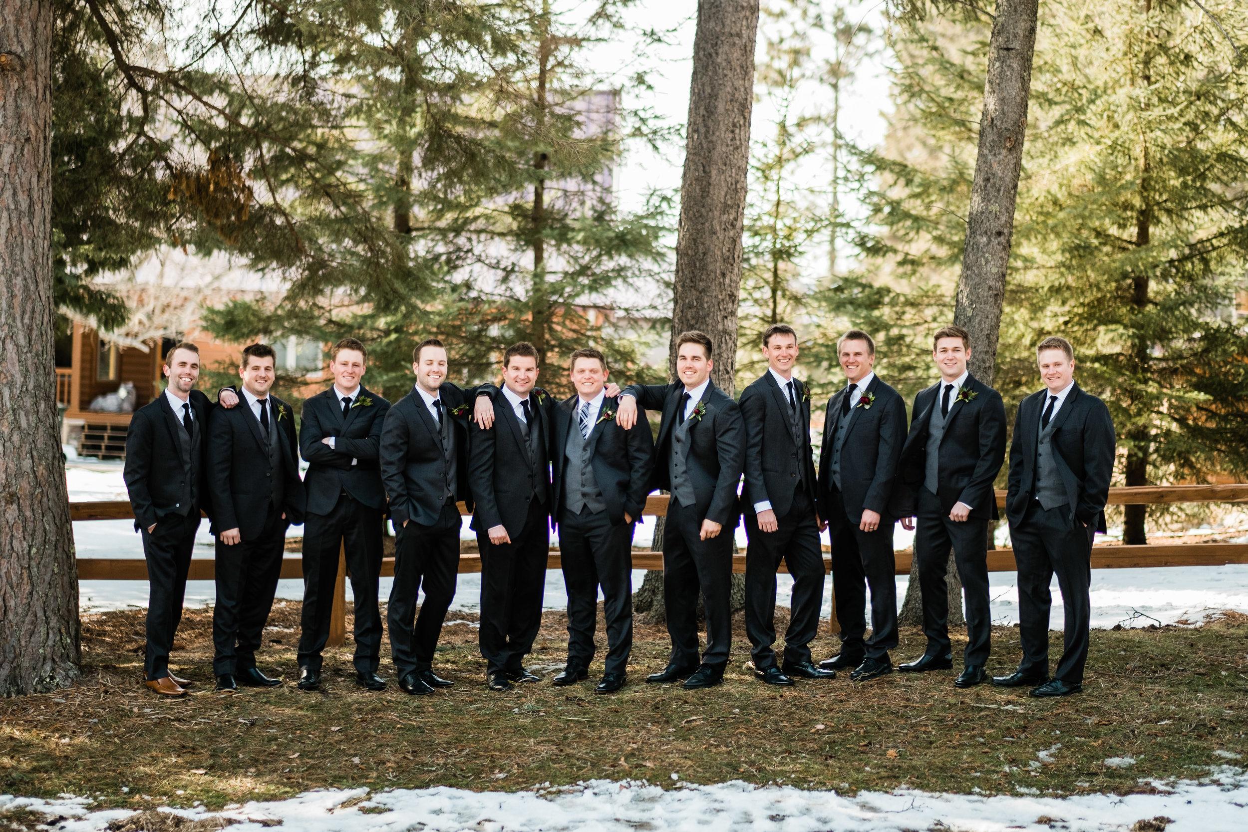groomsmen outside northern, mn wedding