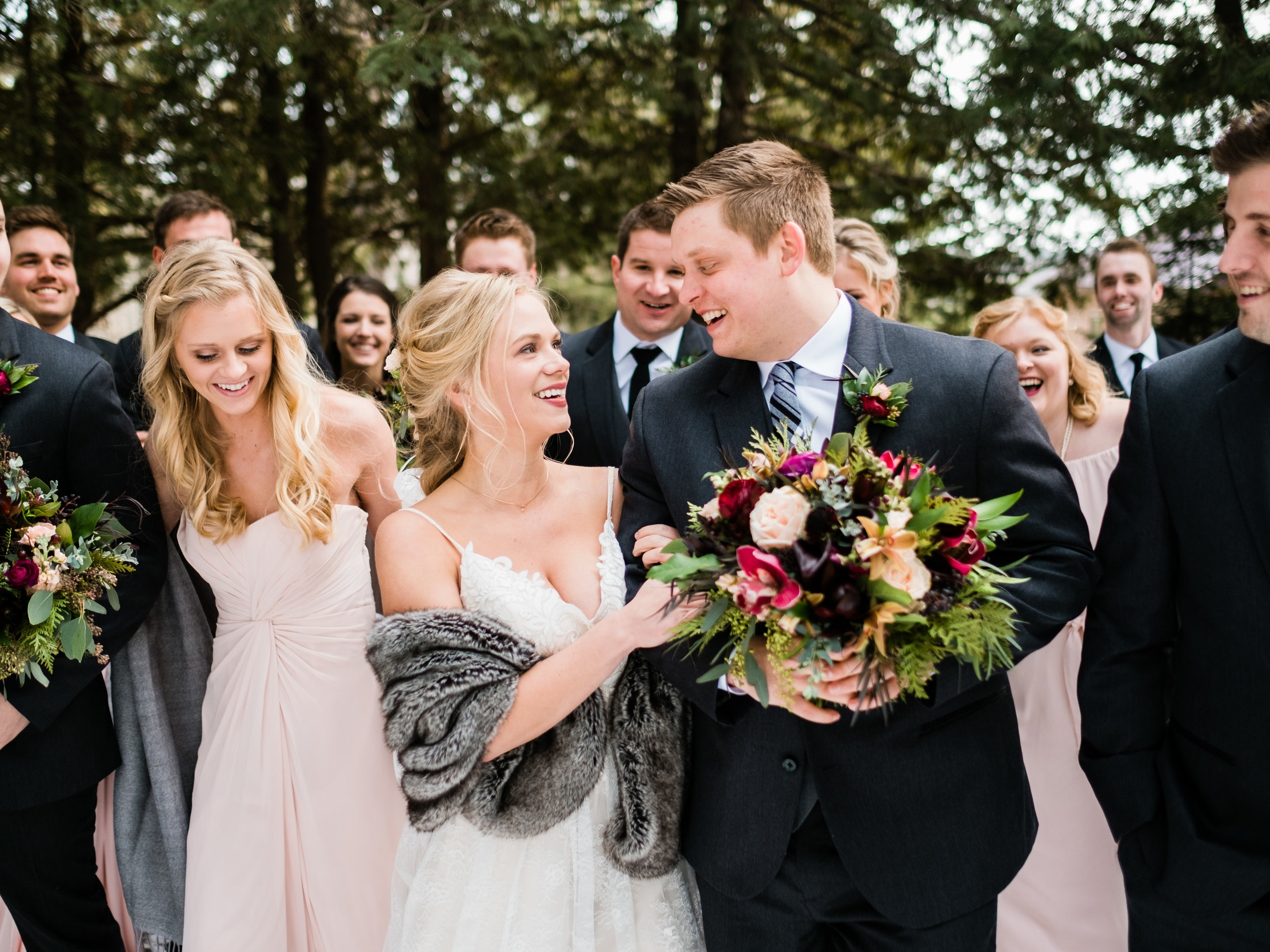 wedding party images at pine peaks event center