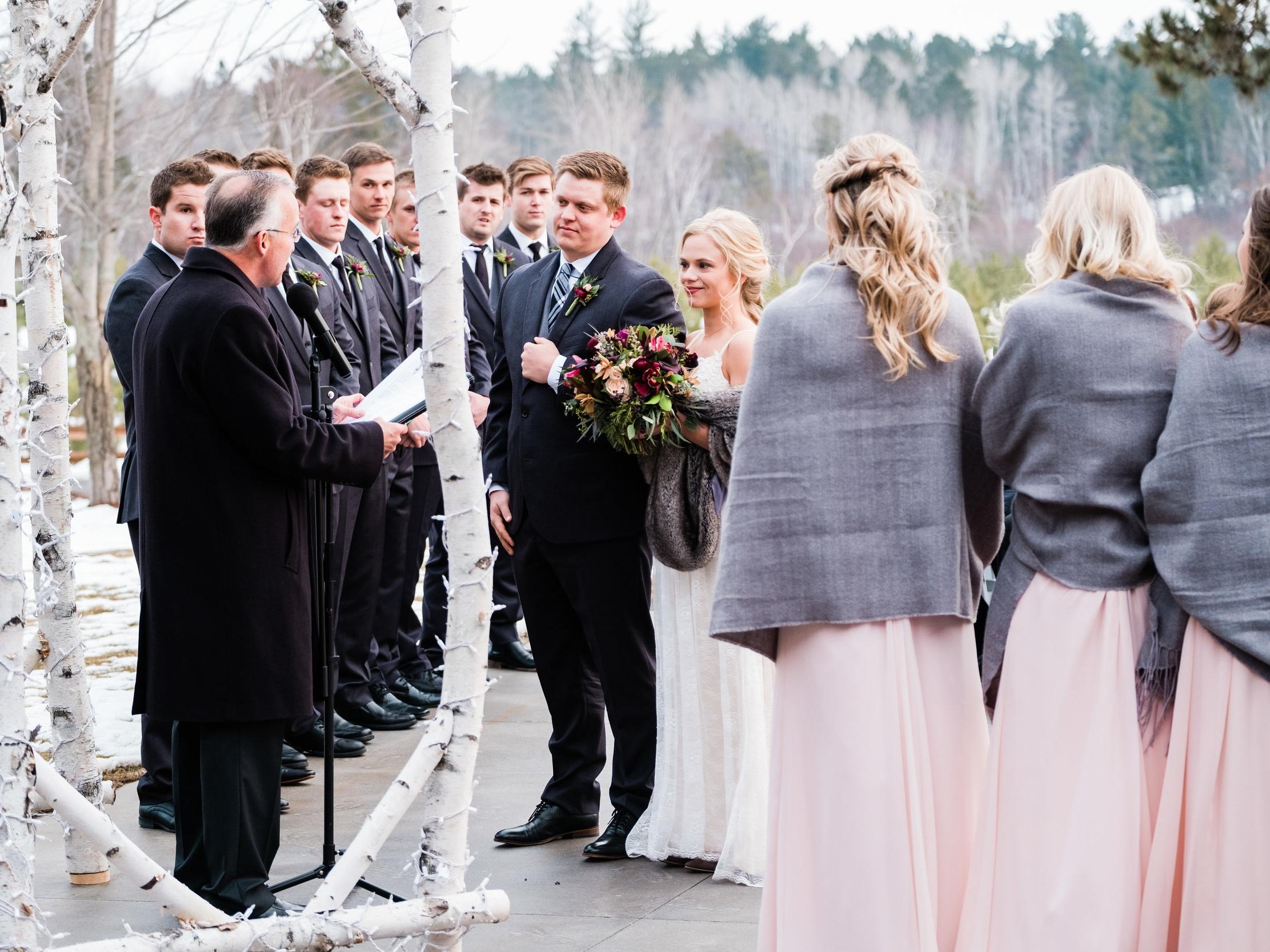 pine peaks outdoor winter wedding