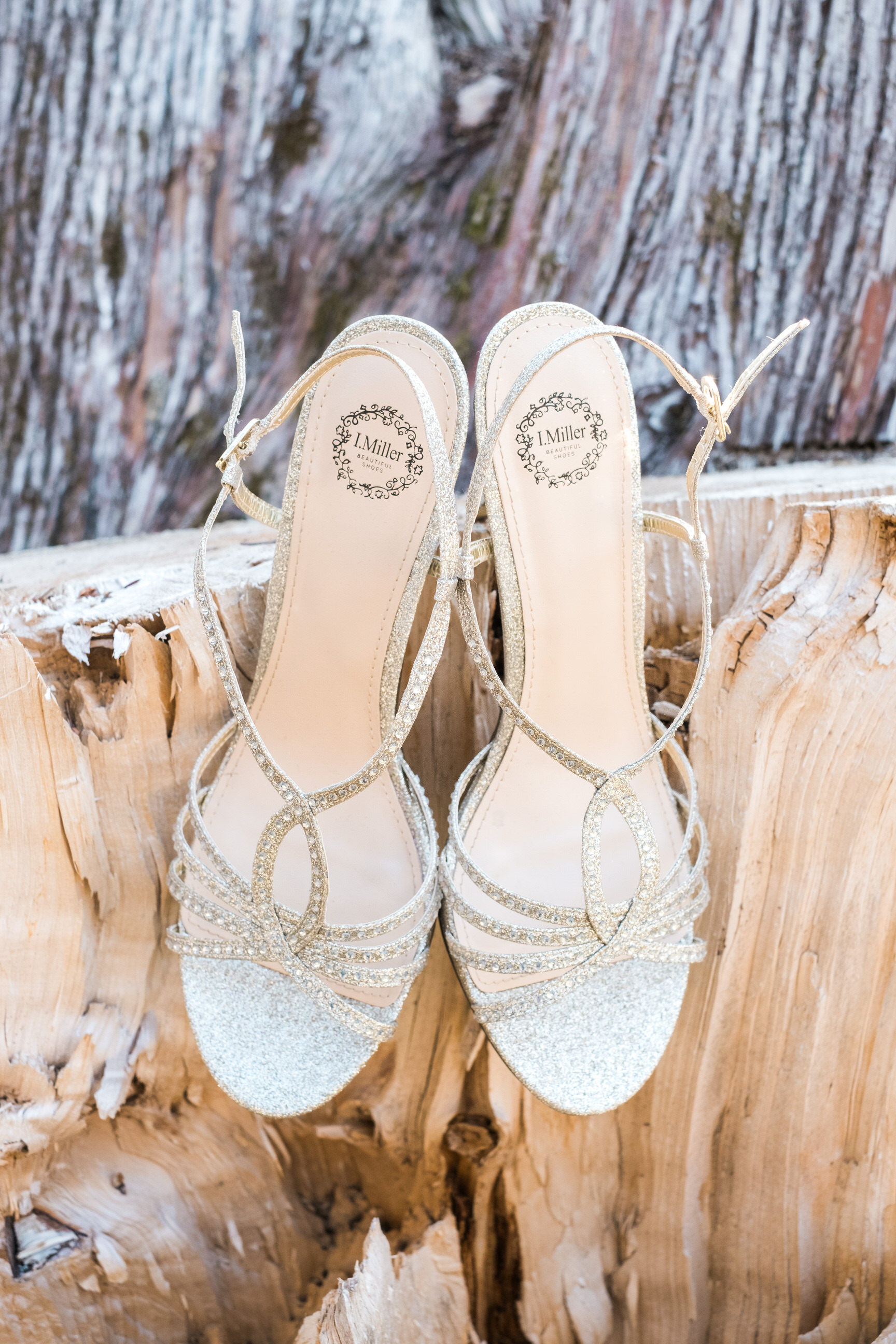 brides shoes on display for her Grand View Wedding