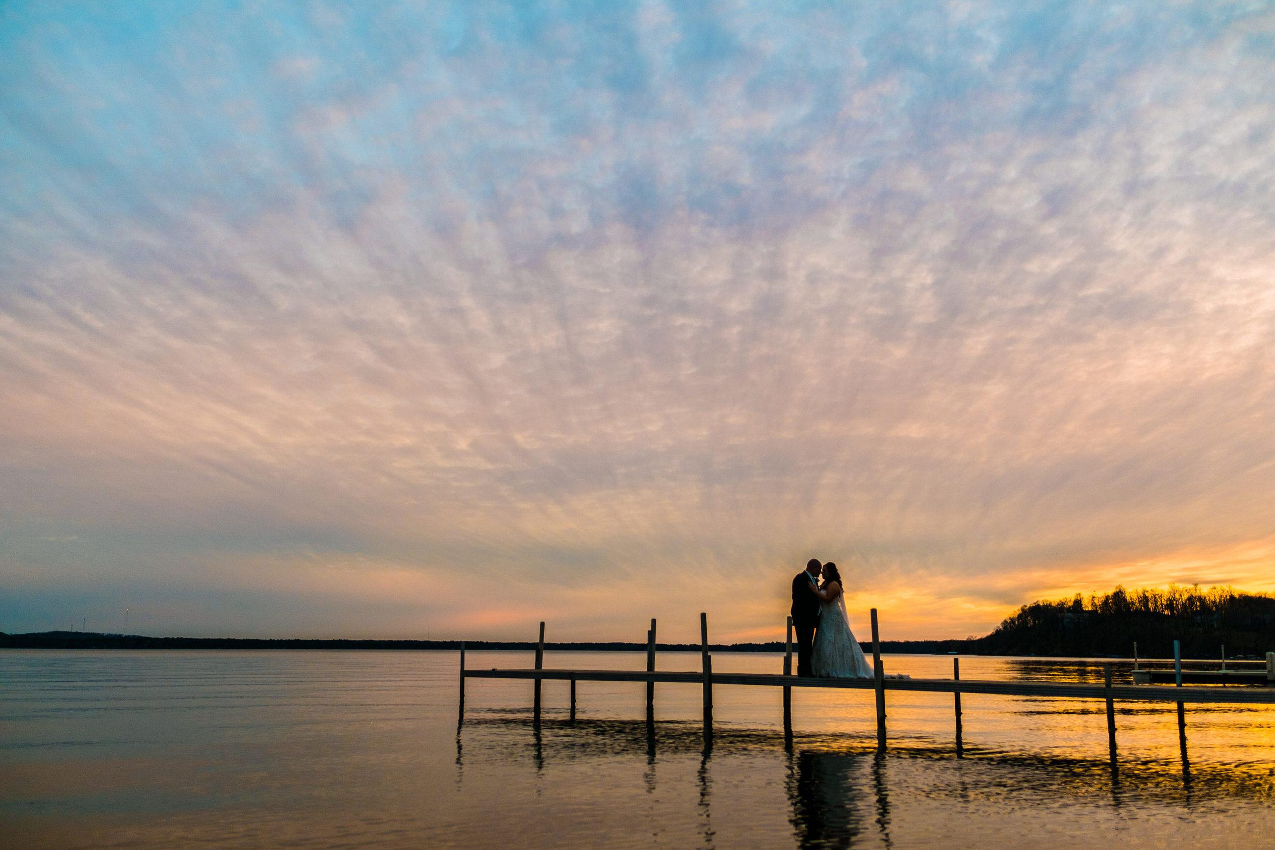Grand View Lodge wedding sunset on Gull Lake