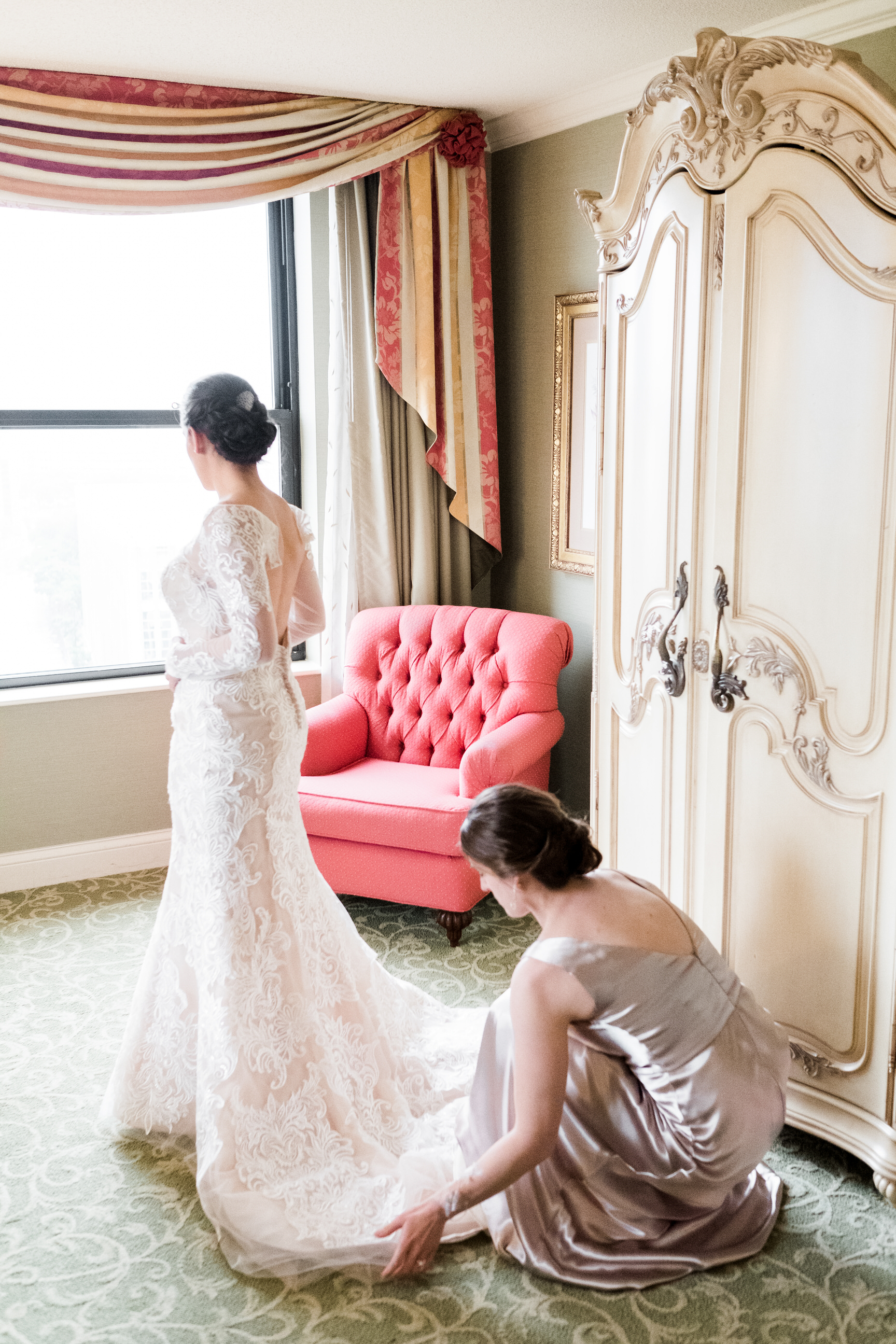 Bride getting ready at the Saint Paul Hotel.