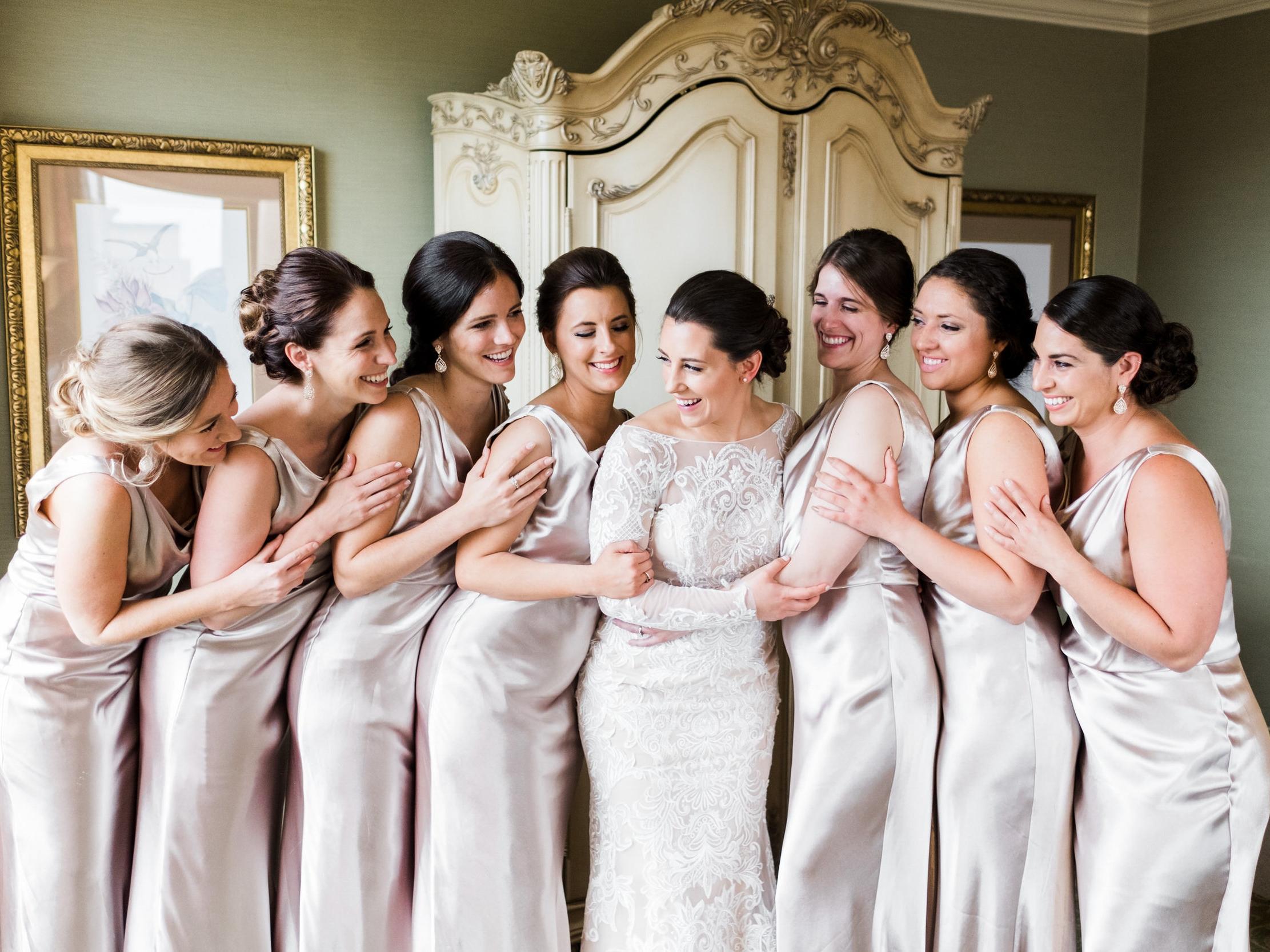 Bridesmaids portraits at the Saint Paul Hotel