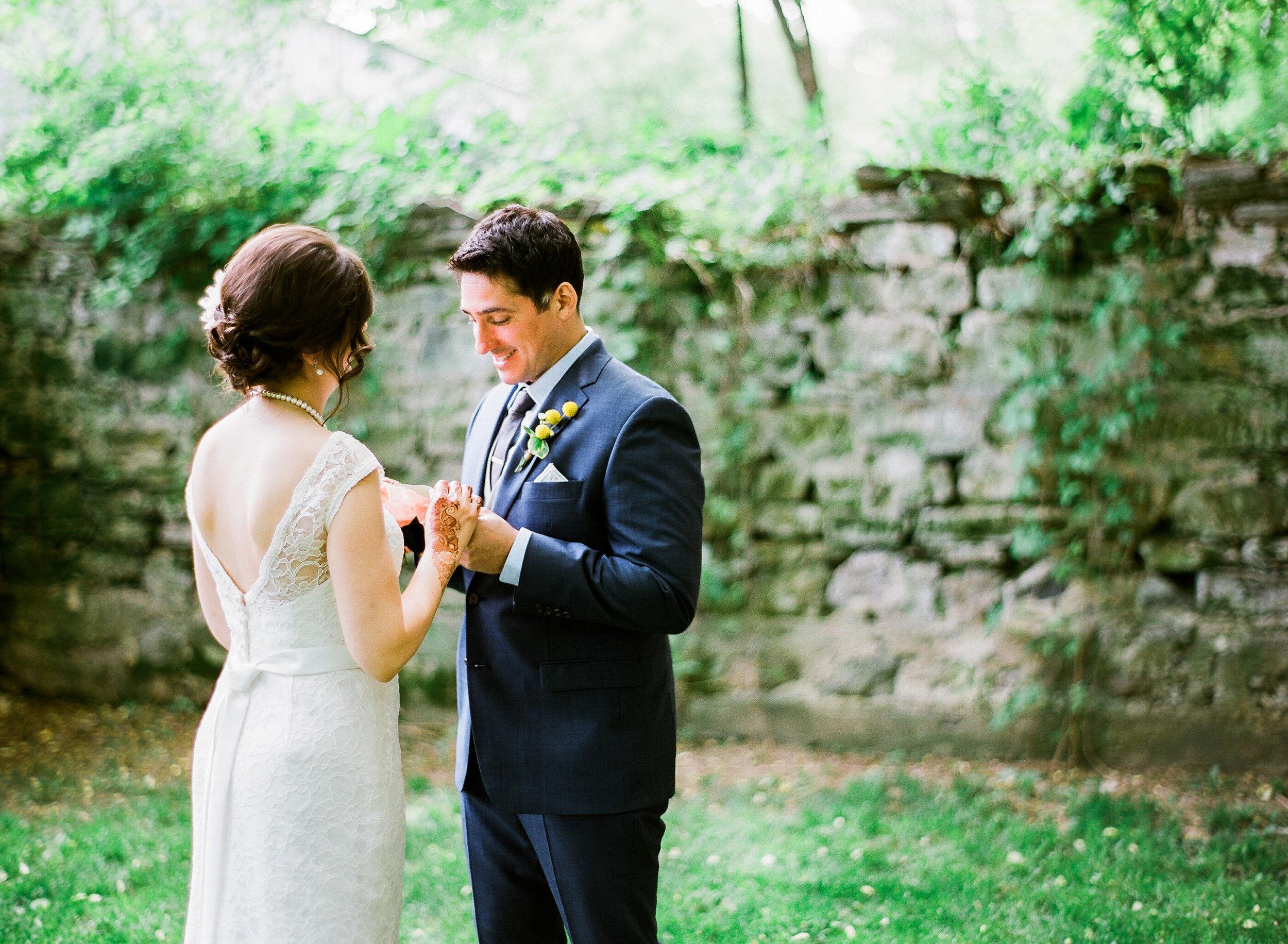 Bloom Lake Barn wedding couple's first sight portraits