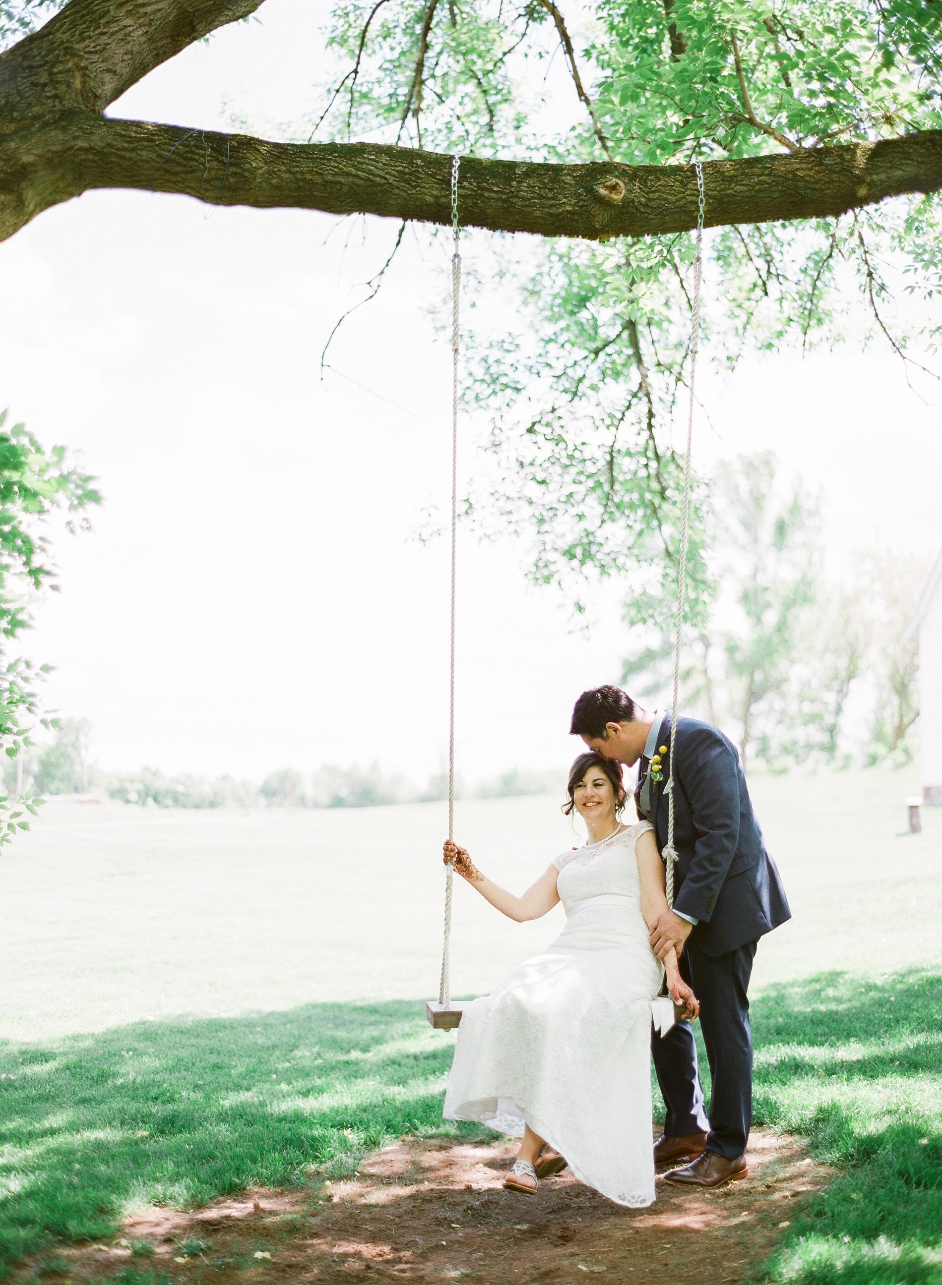 Bloom Lake Barn Northern MN Wedding bride and groom portrait