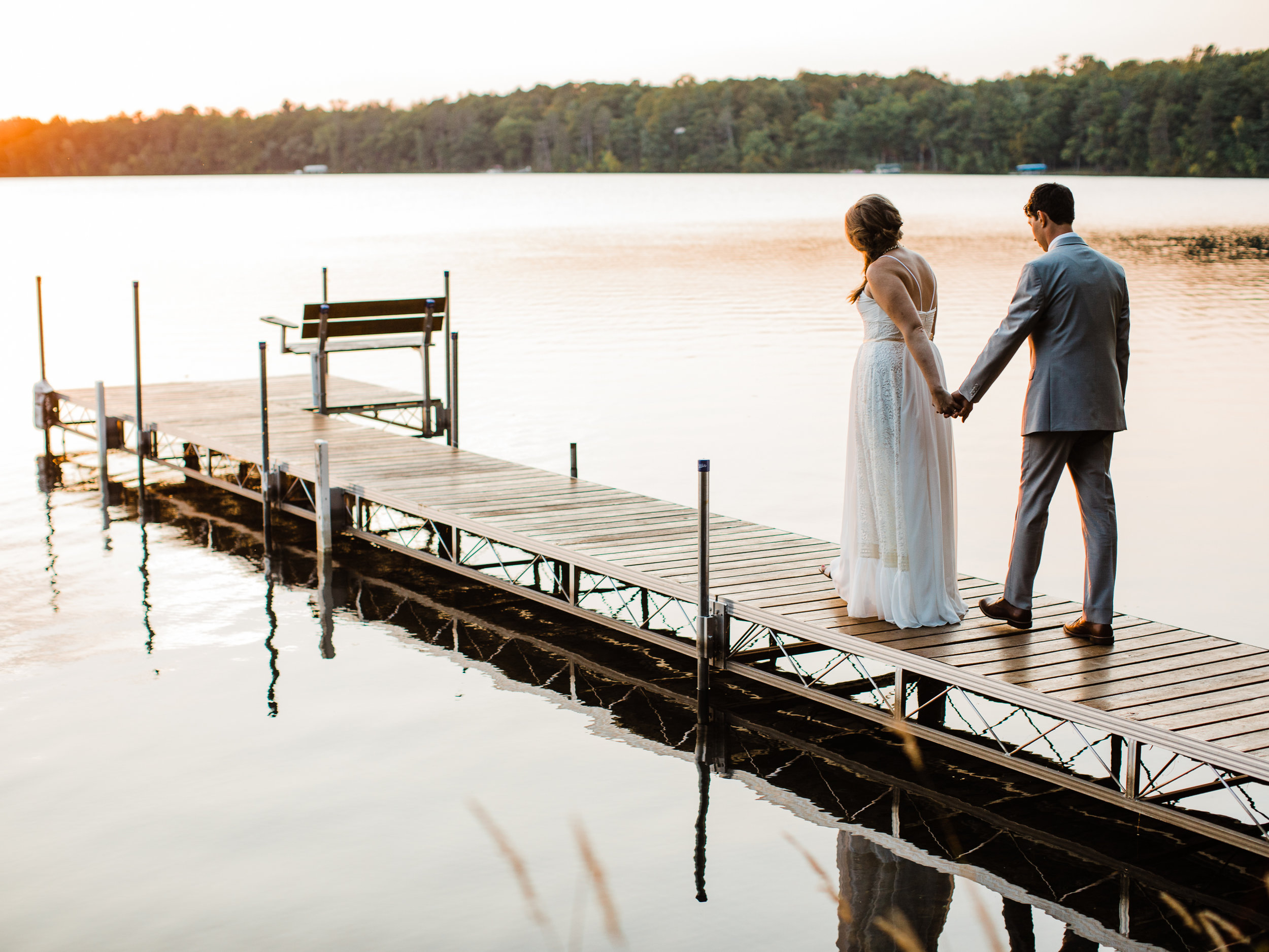 Sunset lakeside wedding images in Northern, MN