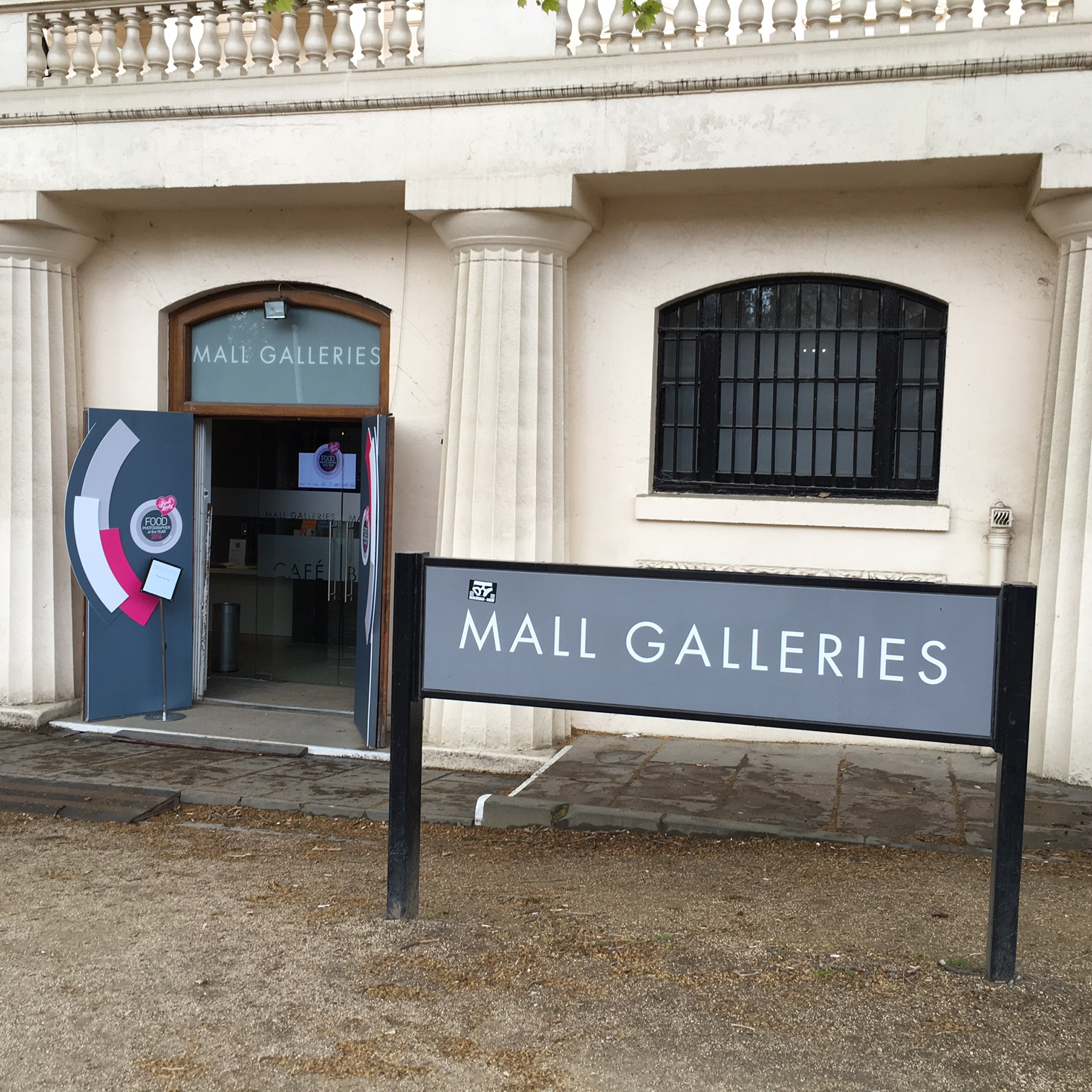 The front entrance of the Mall Galleries