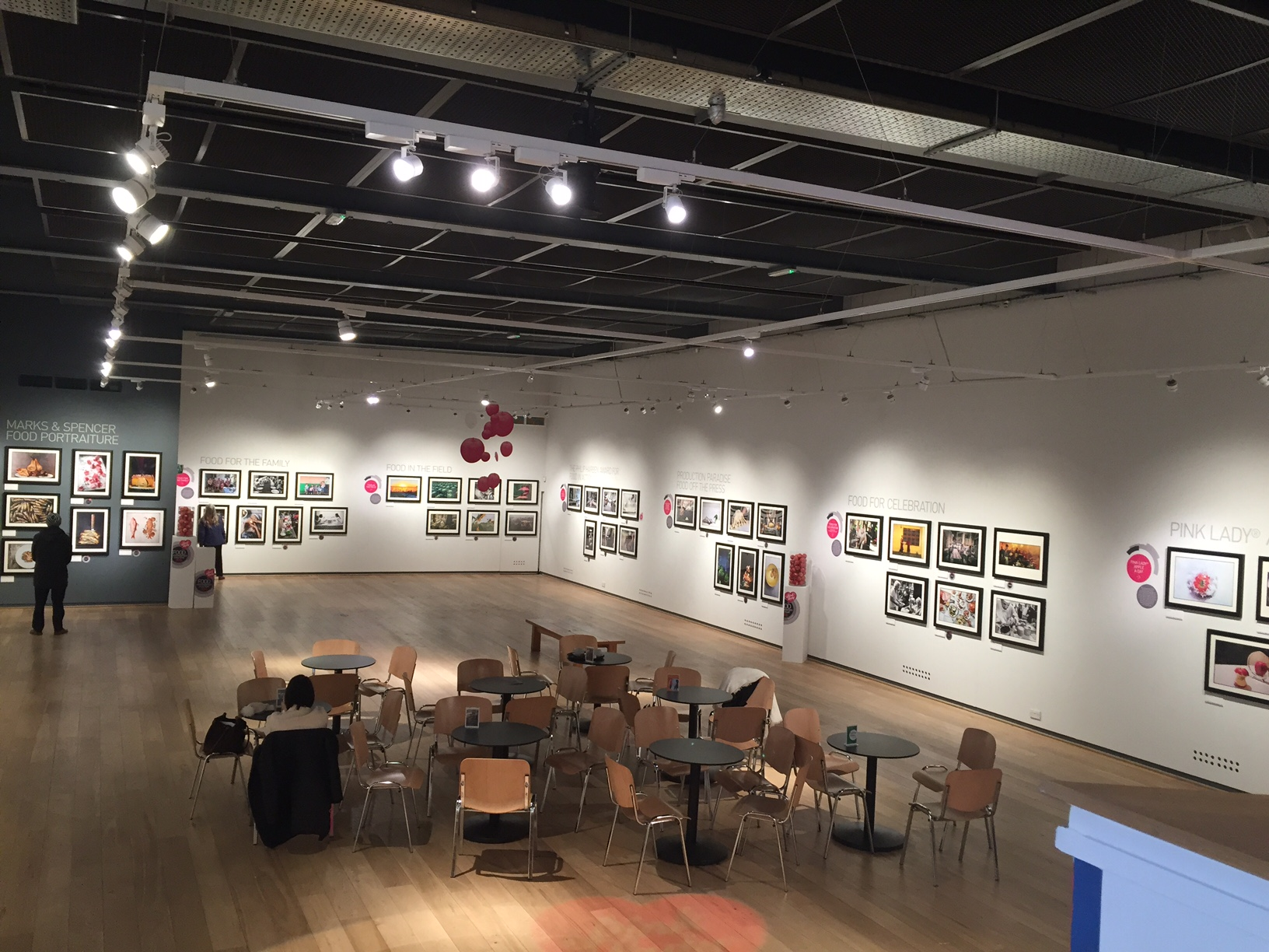 Inside of Mall Galleries exhibiting Pinklady® Food Photographer of The Year finalist work