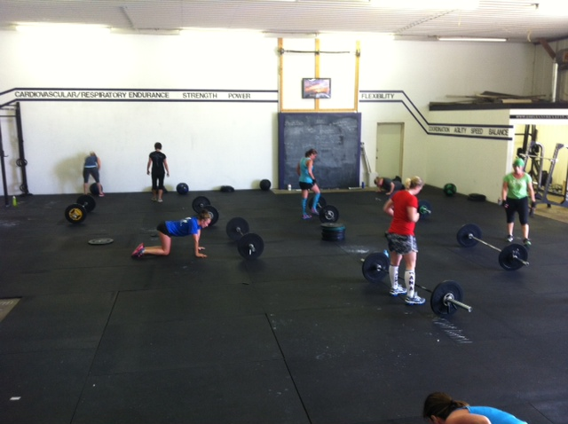Saturday's workout with all women!  Holleyman:   5 Wall Balls  3 Handstand Push Ups (or 6 push ups)   1 Power Clean 225/160