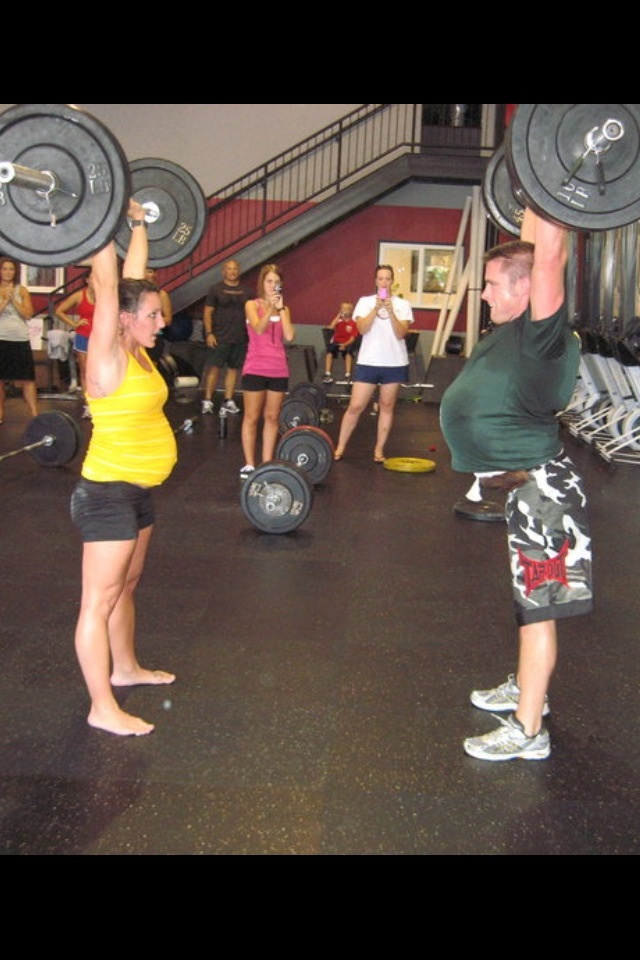 Shanna and Brian doing Jaxx before he was born. Brian wore a weighted vest so he would know how it felt to be Shanna doing WOD.