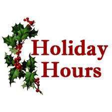 SCHEDULE FOR THE HOLIDAYS