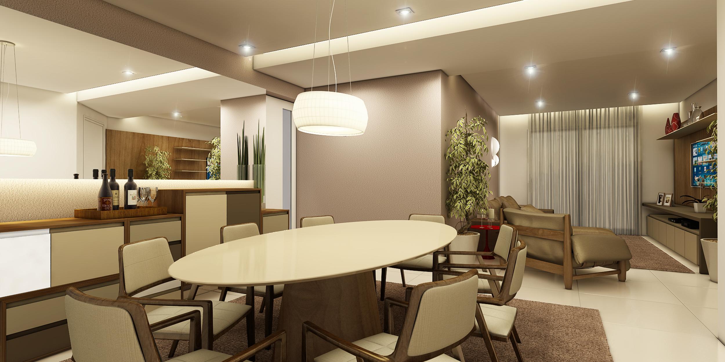 Sala de Jantar e Estar  Apartamento Villaggio Maggiore - São Bernardo do Campo / SP - 120 m2  Projeto: Madi Arquitetura & Design  Imagem: Érica Alfieri