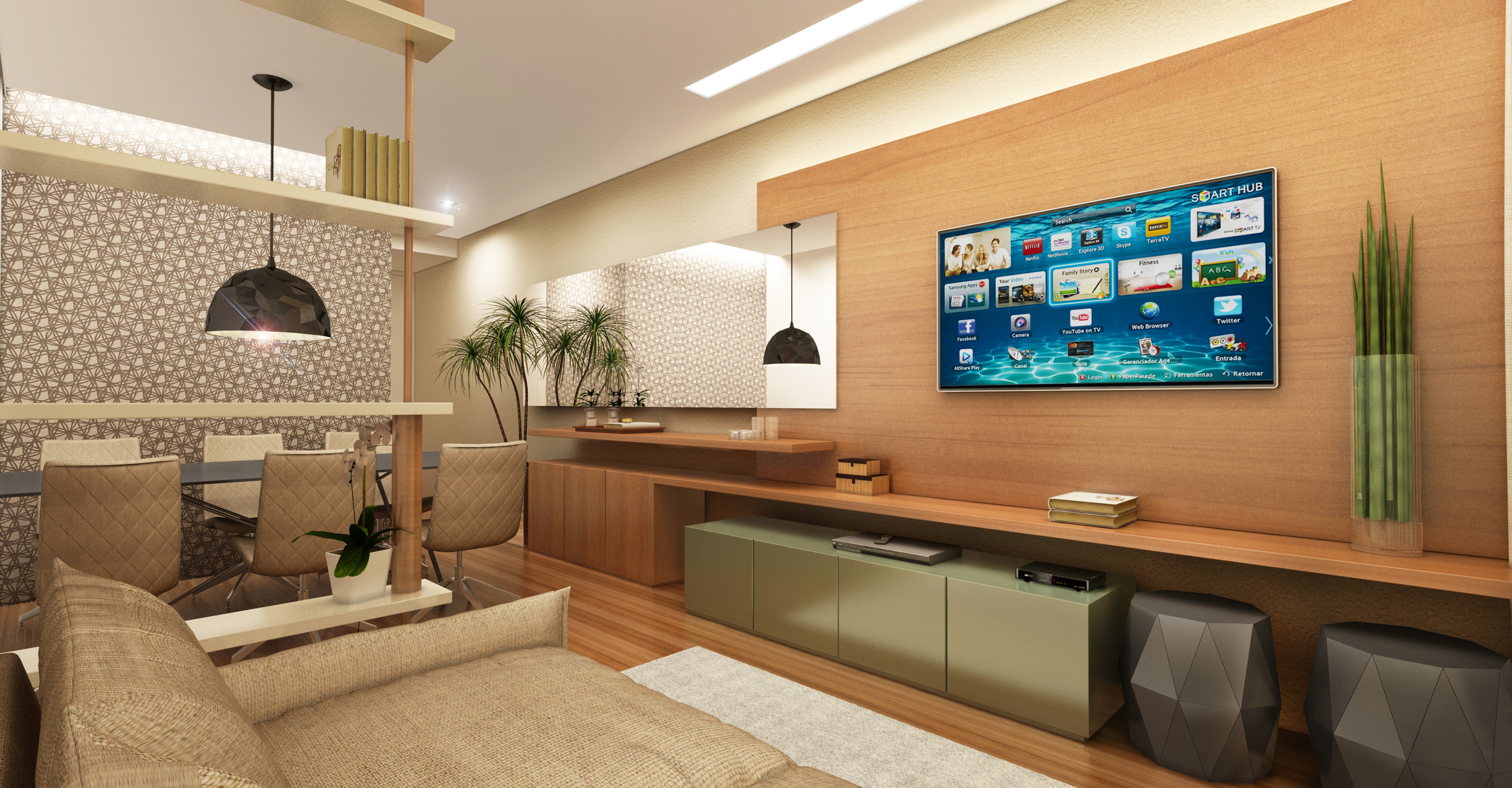 Sala  Apartamento Pompéia - São Paulo / SP - 90 m2  Projeto: Madi Arquitetura & Design  Imagem: Érica Alfieri