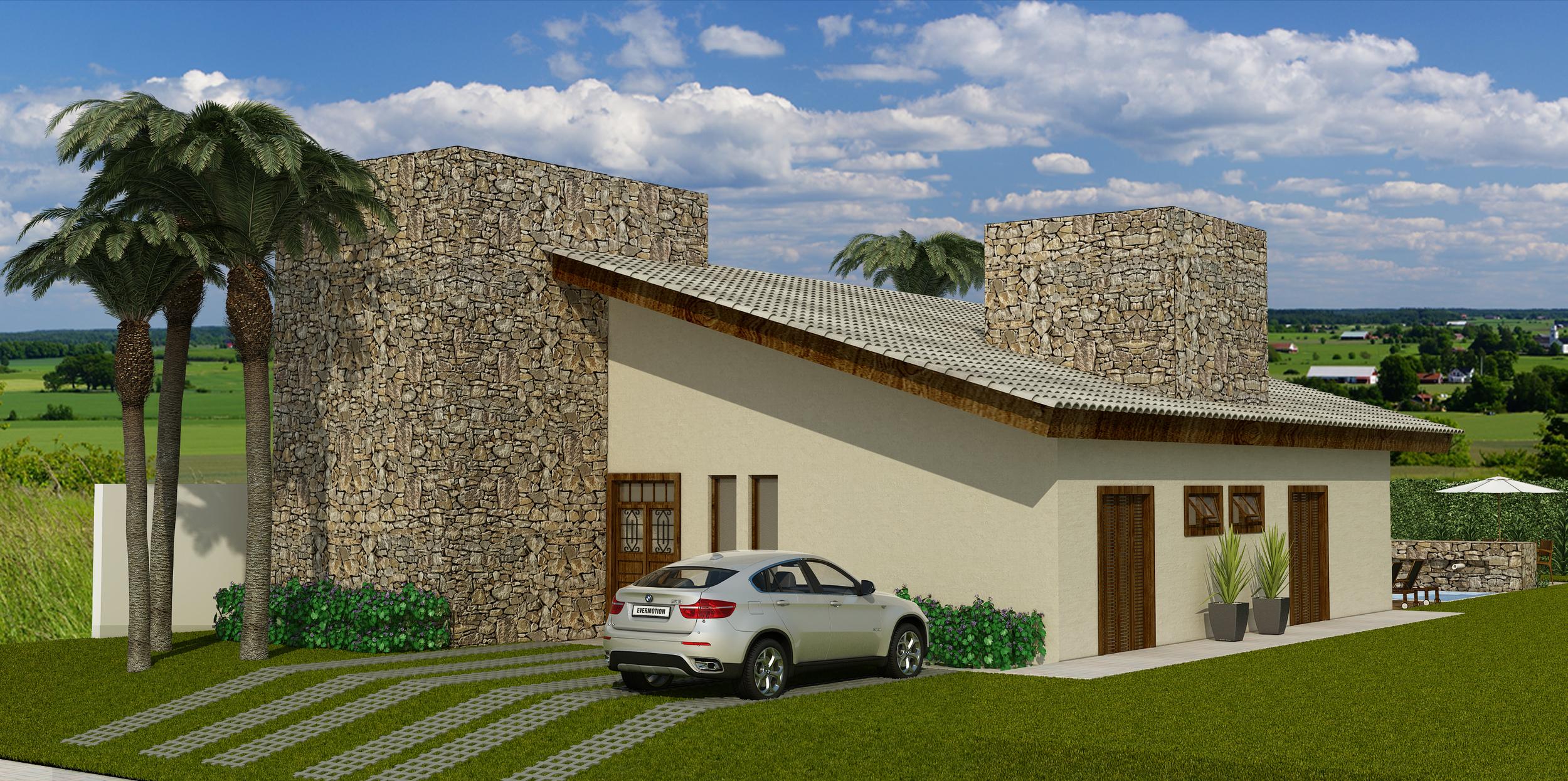 Imagem da Elevação Forntal da Residência Portal dos Pires - Itatiba - SP