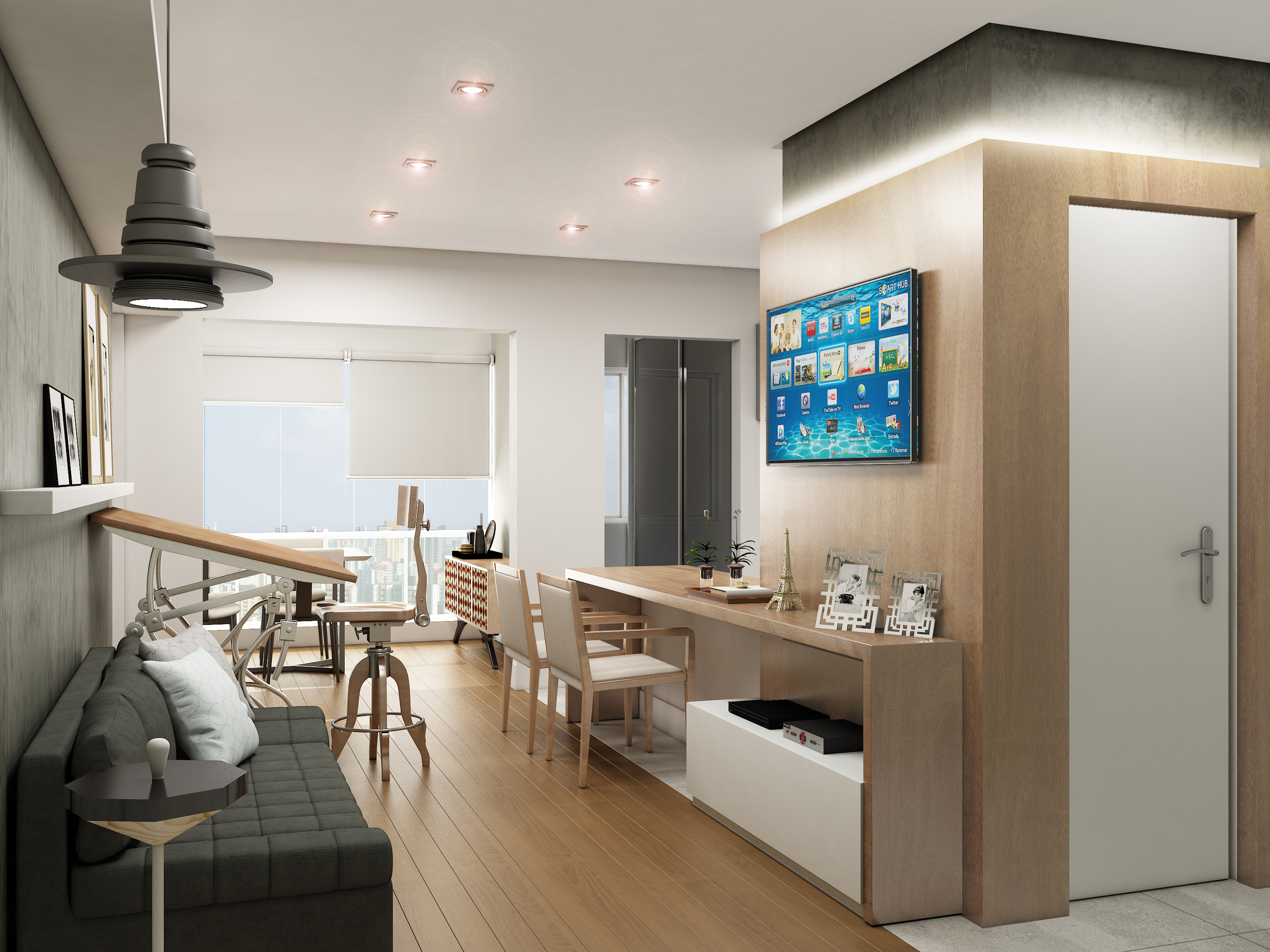 Sala integrada à Cozinha  Apto Major Quedinho - Bela Vista - São Paulo / SP - 47 m2  Projeto: Madi Arquitetura & Design  Imagem: Érica Alfieri
