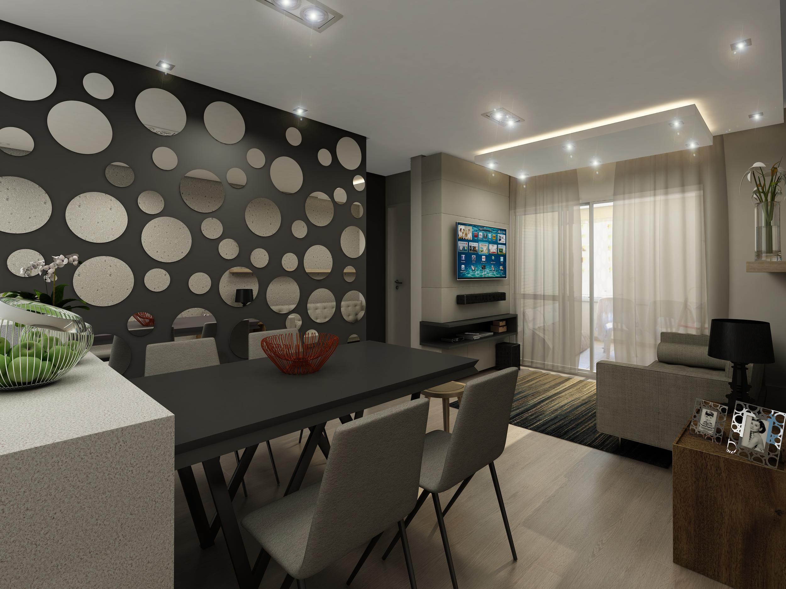 Sala de Jantar e Estar  Apto Paula Ney - Vila Mariana - São Paulo / SP - 70 m2  Projeto: Madi Arquitetura & Design  Imagem: Érica Alfieri