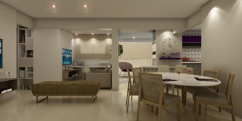 Sala Integrada à Cozinha e Varanda Gourmet  Apto Bragança Paulista - Vila Cruzeiro (Santo Amaro) - São Paulo / SP - 130m2  Projeto: Madi Arquitetura & Design  Imagem: Érica Alfieri