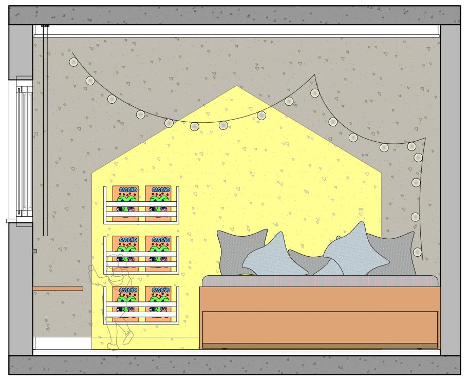 Nesta elevação, foram utilizadas duas cores para a parede, formando o desenho intuitivo de uma casa. Bacana, não?  Os porta livros também estão na altura da criança. Desta forma, ela tem autonomia para escolher qual livro ou revista quer ler, sem depender de um adulto.