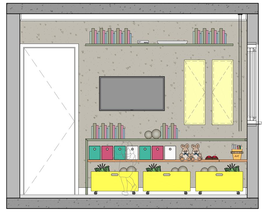 Nesta elevação, uma bancada baixa foi projetada para a criança guardar objetos e ter acesso aos brinquedos e objetos do dia a dia. As caixas amarelas tem rodízios, que ajudam a criança na organização geral do ambiente.