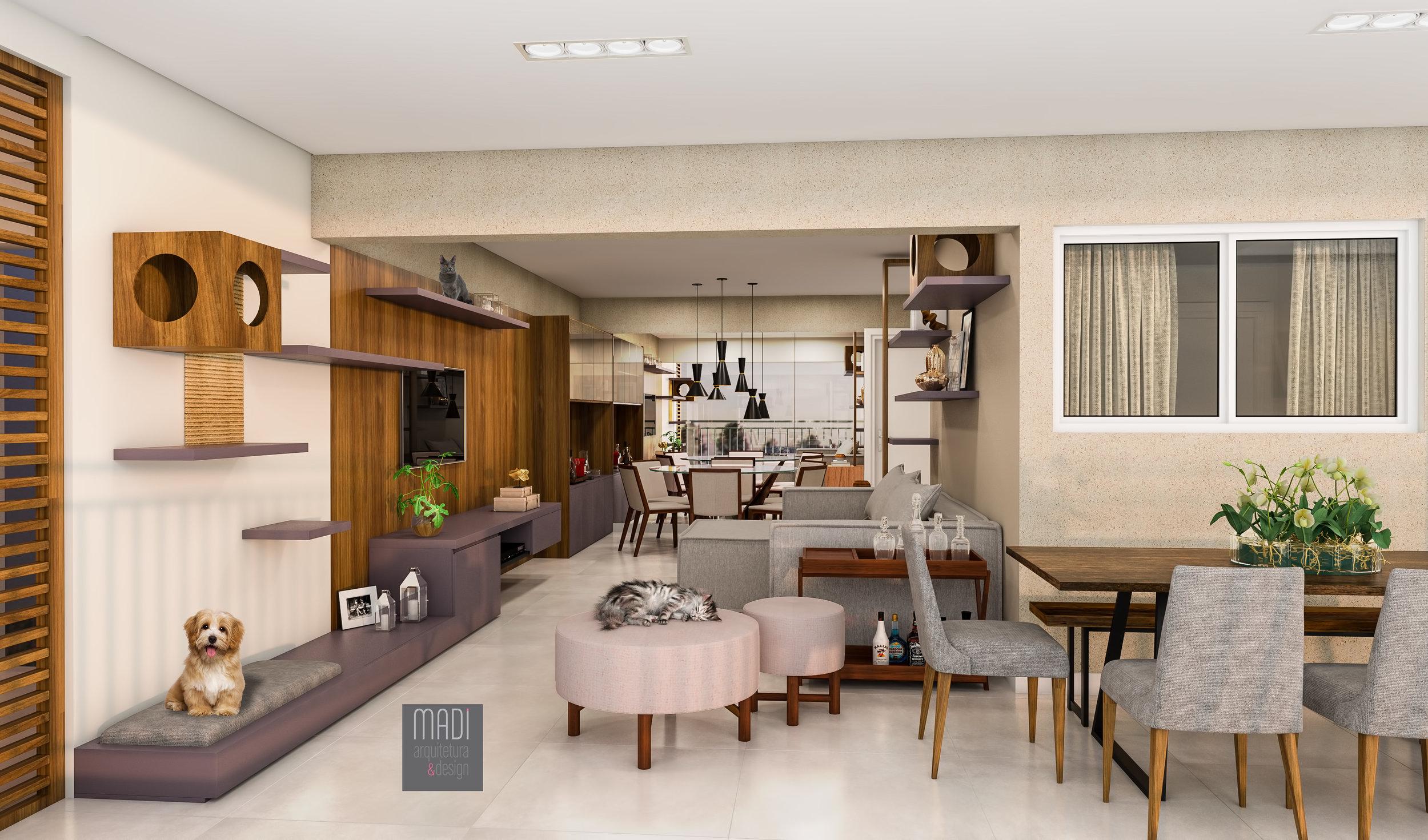 Salas e Varanda integradas  Apto Pedrália - Bosque da Saúde - São Paulo / SP  Projeto: Madi Arquitetura & Design  Imagem: Érica Alfieri