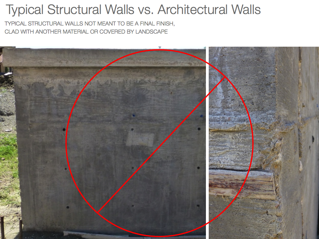 lower grade finish on structural concrete walls
