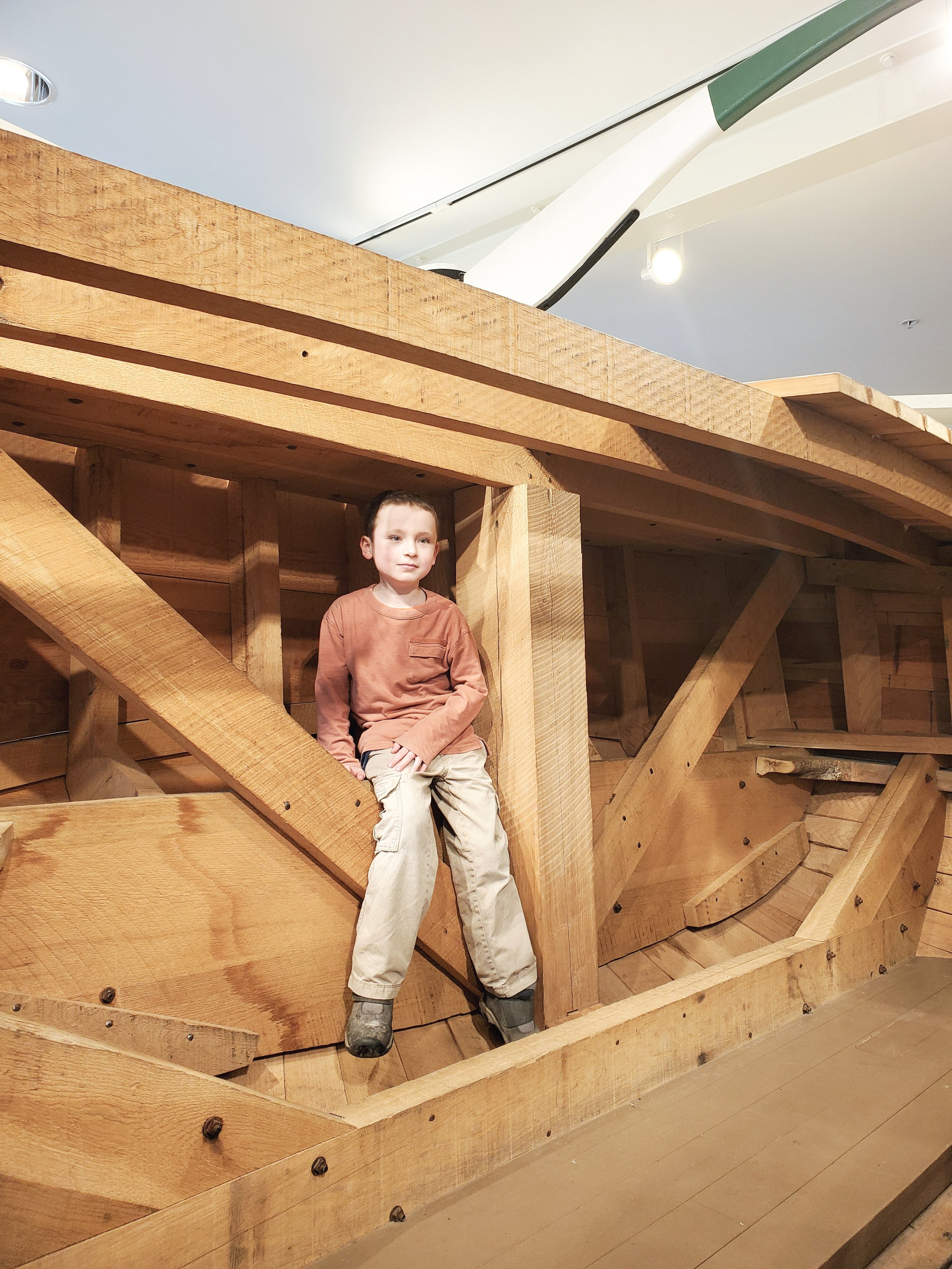 Replica of a timber framed canal boat at Cuyahoga Valley National Park's Boston Store Visitor Center.
