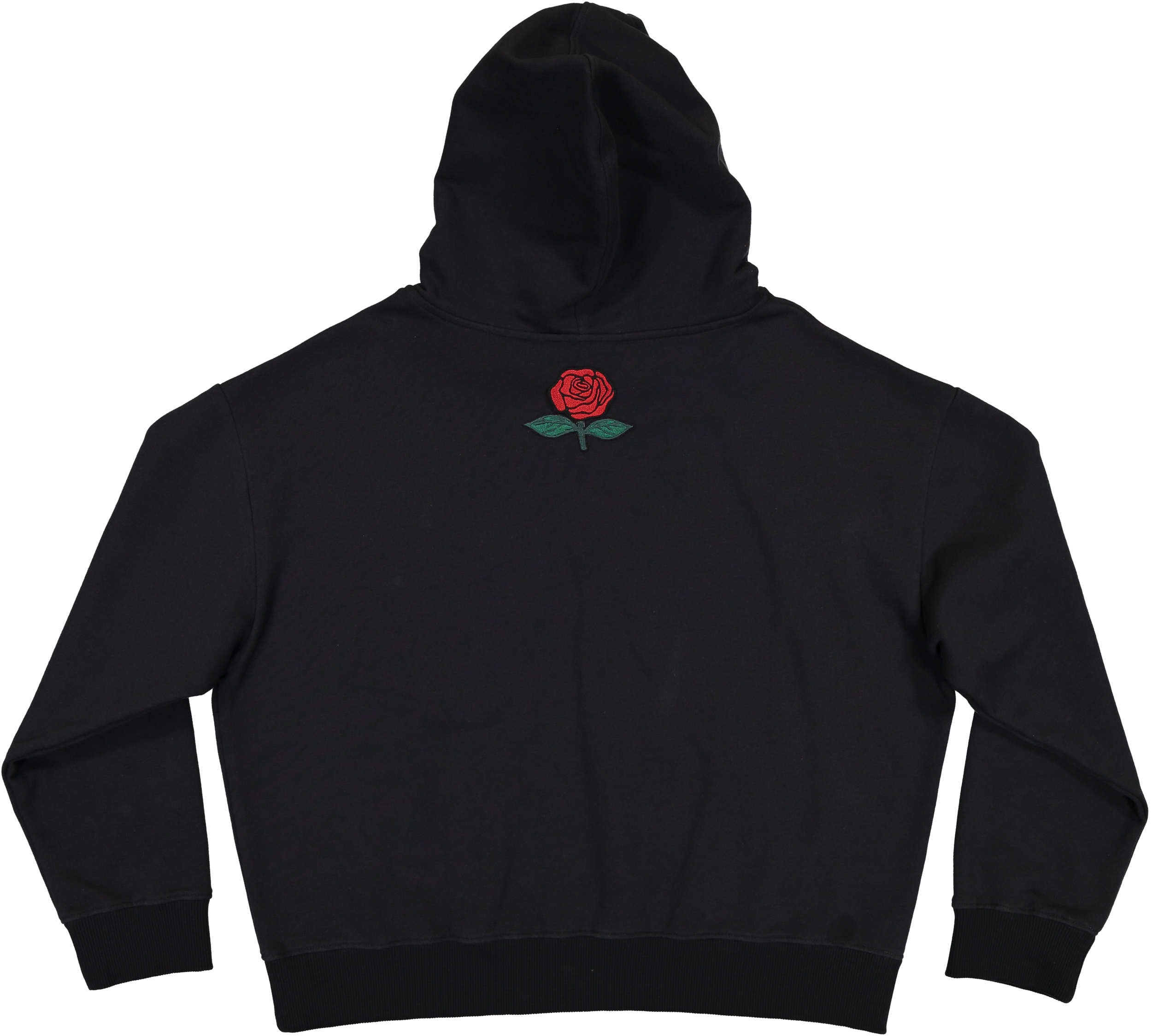 MODEL | 104 (back)  STYLE | BLACK  oversized co fleece hoodie  embroidered rose on the back