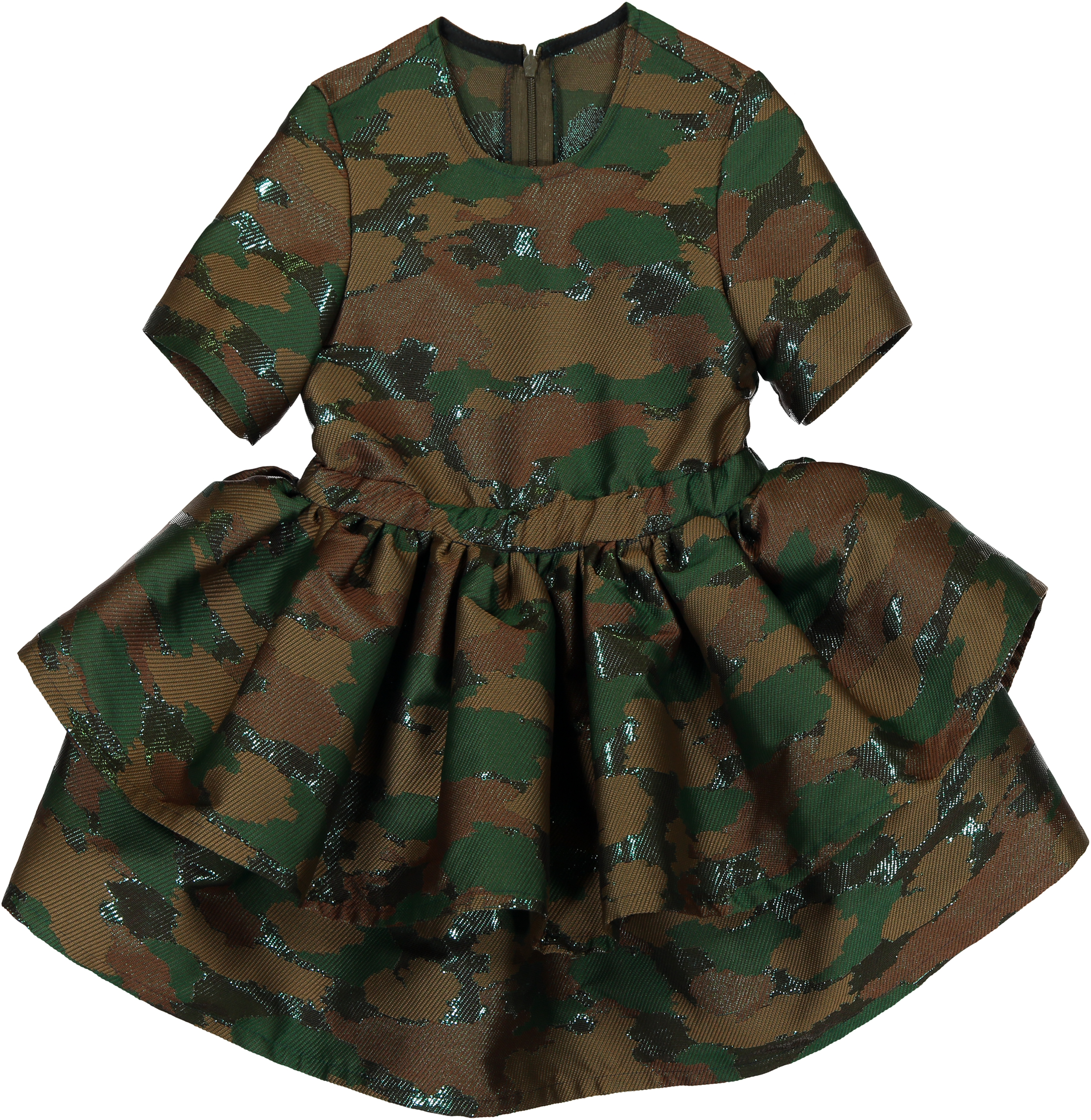MODEL   401A  STYLE   28 CAMOUFLAGE  layered dress  blind zipper at the back