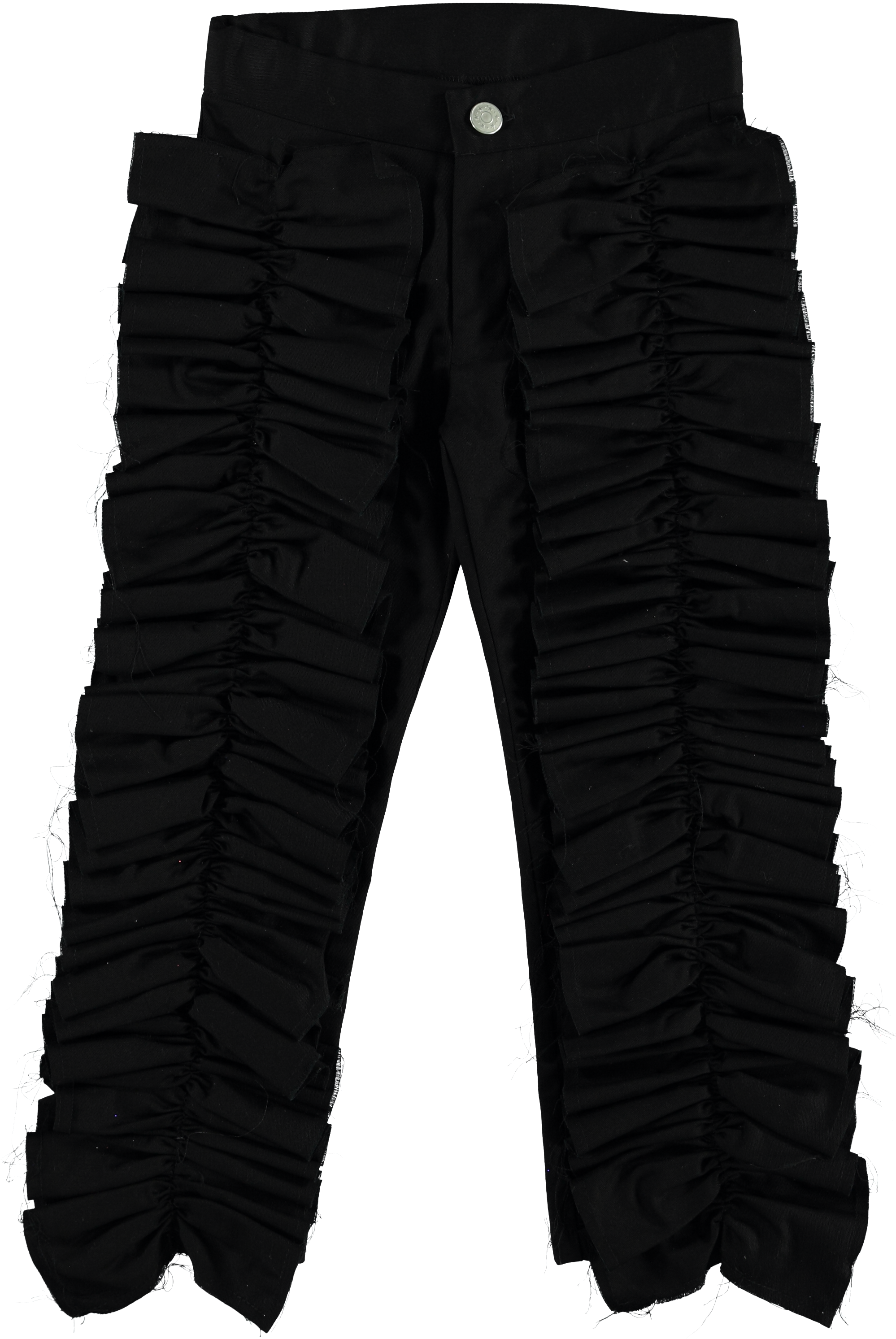 MODEL | 211  STYLE | 22 CO BLACK  pants with ruches on front 100% co