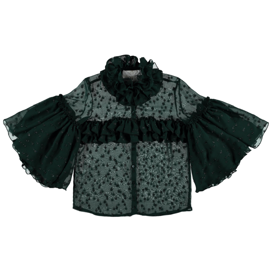 MODEL | 124  STYLE | 14 GLIMMER GREEN  ruffled shirt with lurex details semi transparent