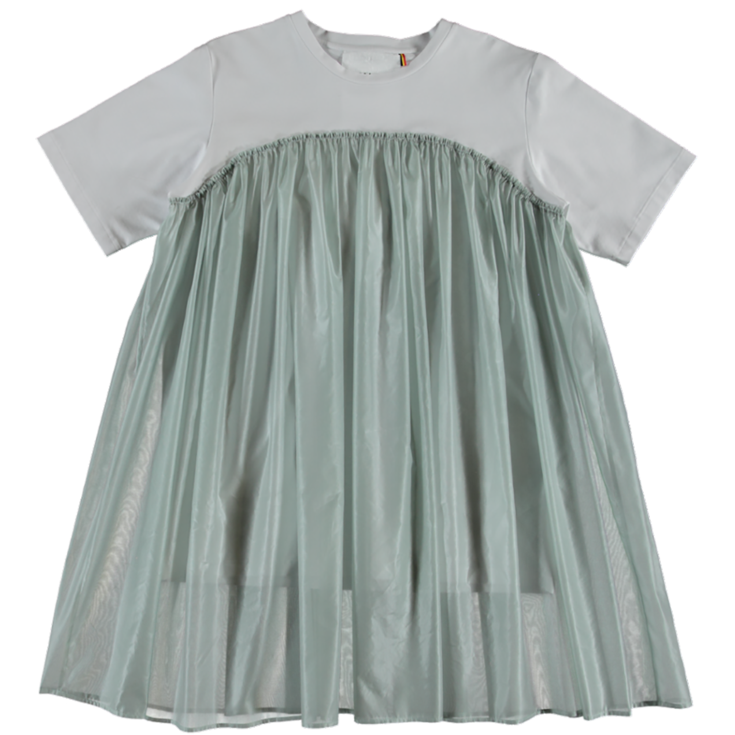 MODEL | 421  STYLE | 17 DRESSY MINT  mini co t-shirt dress with knee length layer in gorgeous semi transparent fabric
