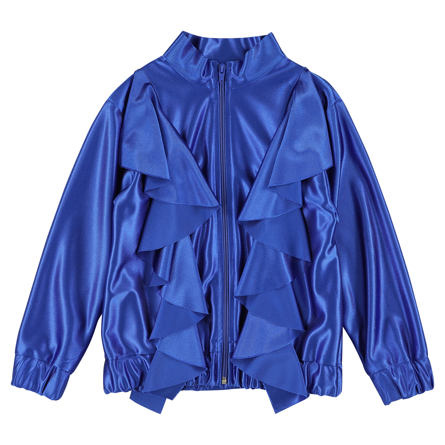 MODEL | 143 STYLE | 29 GLIMMER GALAXY BLUE extra shiny ruffled track top