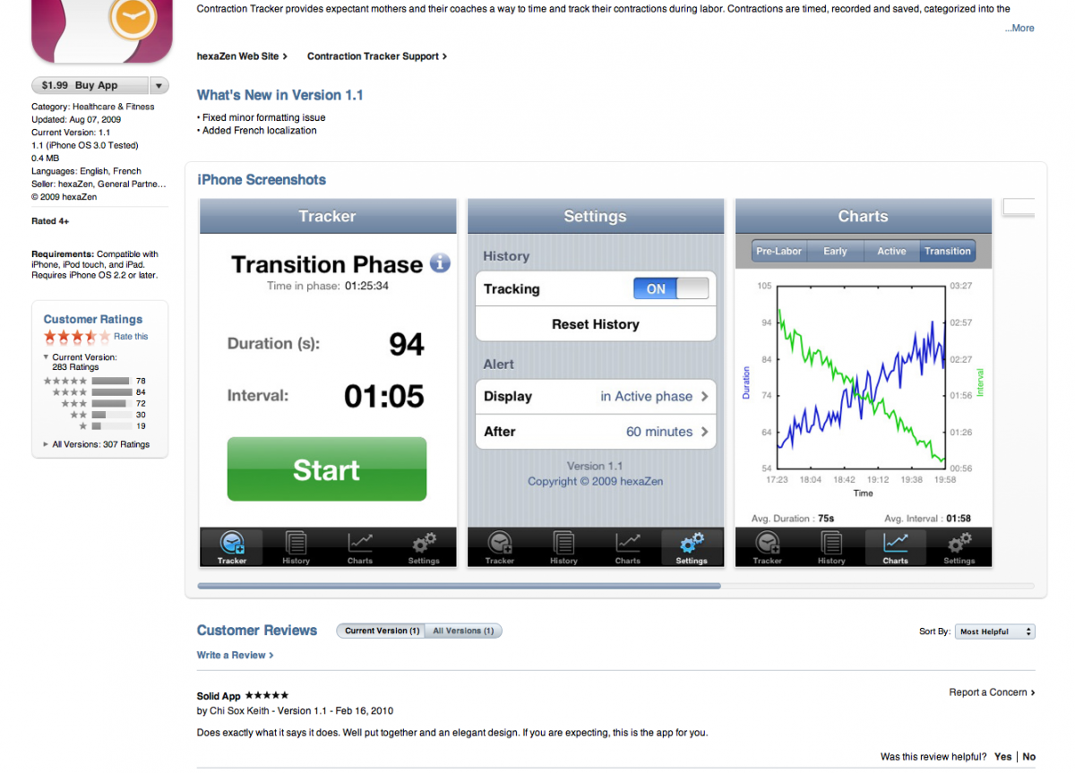 iTunes Ratings and Reviews of the Contraction Tracker before we replaced it with Contraction Tracker USA