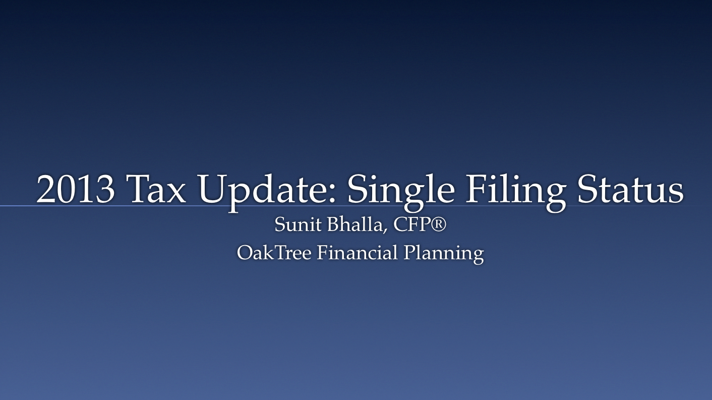 2013 Tax Update (Single Filing Status)