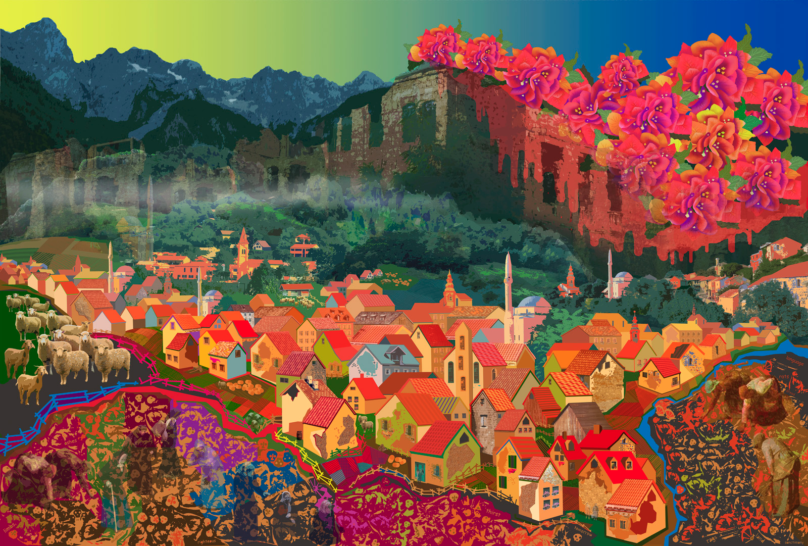 """Mostar:   computer generated, image 24"""" x 36"""" on 28  """" x 40"""" somerset velvet  price on request                              edition of 5"""