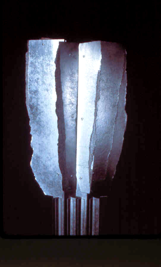 """Detail:    Construction #3, Cactus Figure   cardboard, aluminum spray paint  47"""" x 14"""" x 7"""", 1/10/1986  collection of the artist"""