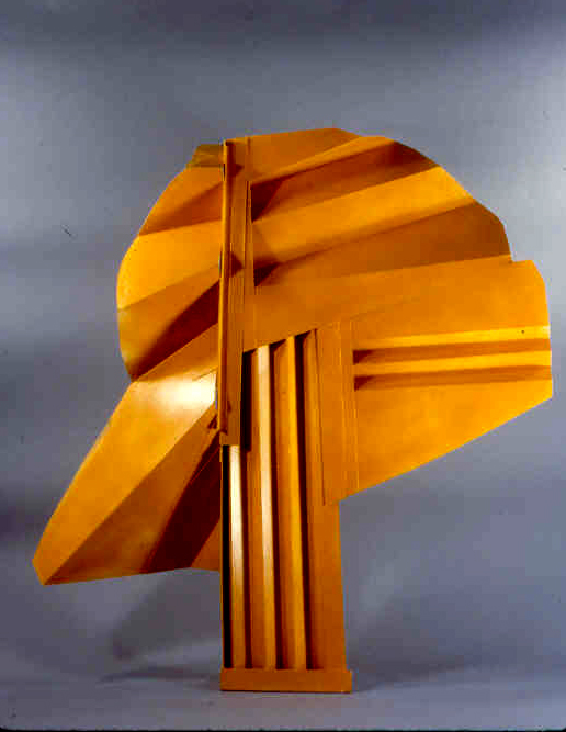 """Yellow Pleated Head   folded cardboard 40"""" x 32""""  collection of the artist"""