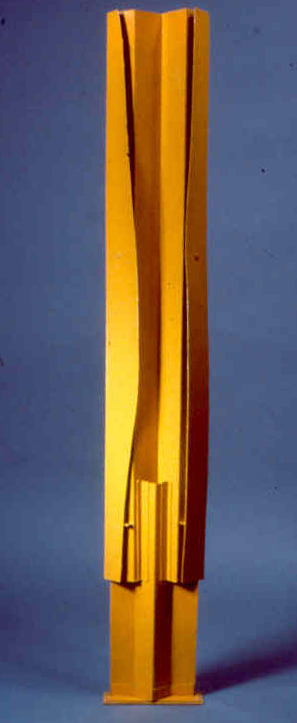 """Yellow Figure   folded ,painted cardboard, 36"""" x 4'  collection of the artist"""